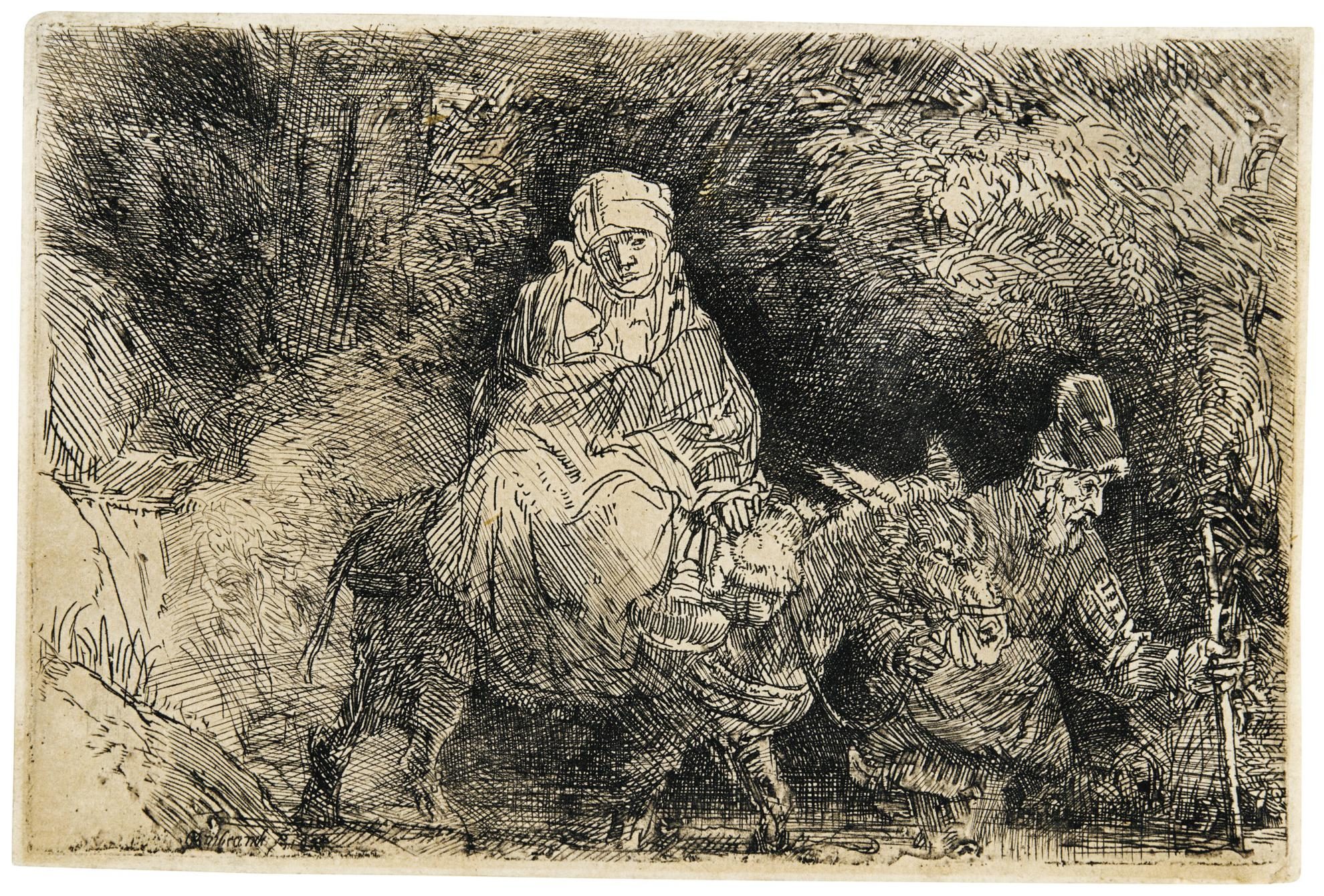 Rembrandt van Rijn-The Flight Into Egypt: Crossing A Brook (B., Holl. 55; New Holl. 277; H. 276)-1654