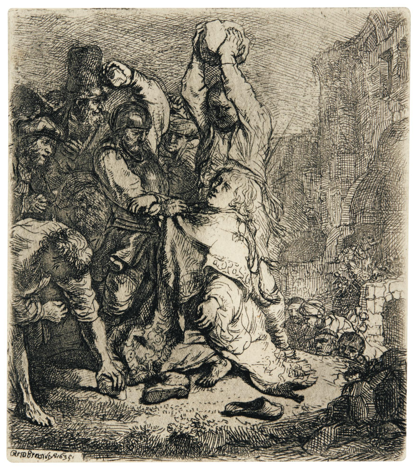 Rembrandt van Rijn-The Stoning Of St Stephen (B., Holl. 97; New Holl. 140; H. 125); The Presentation in the Temple: Oblong Print (New Holl. 184); The Virgin and Child with the Cat and the Snake (New Holl. 278)-1654