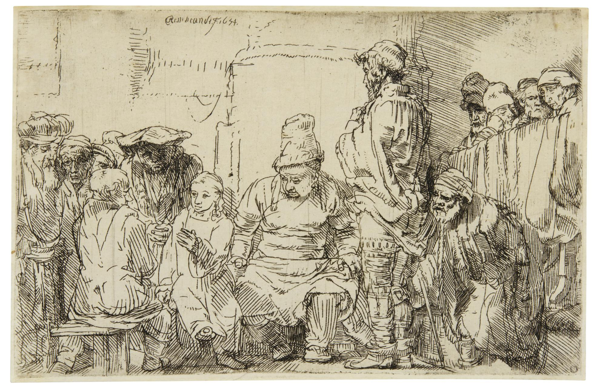 Rembrandt van Rijn-Christ Seated Disputing With The Doctors (B., Holl. 64; New Holl. 281; H. 277)-1654