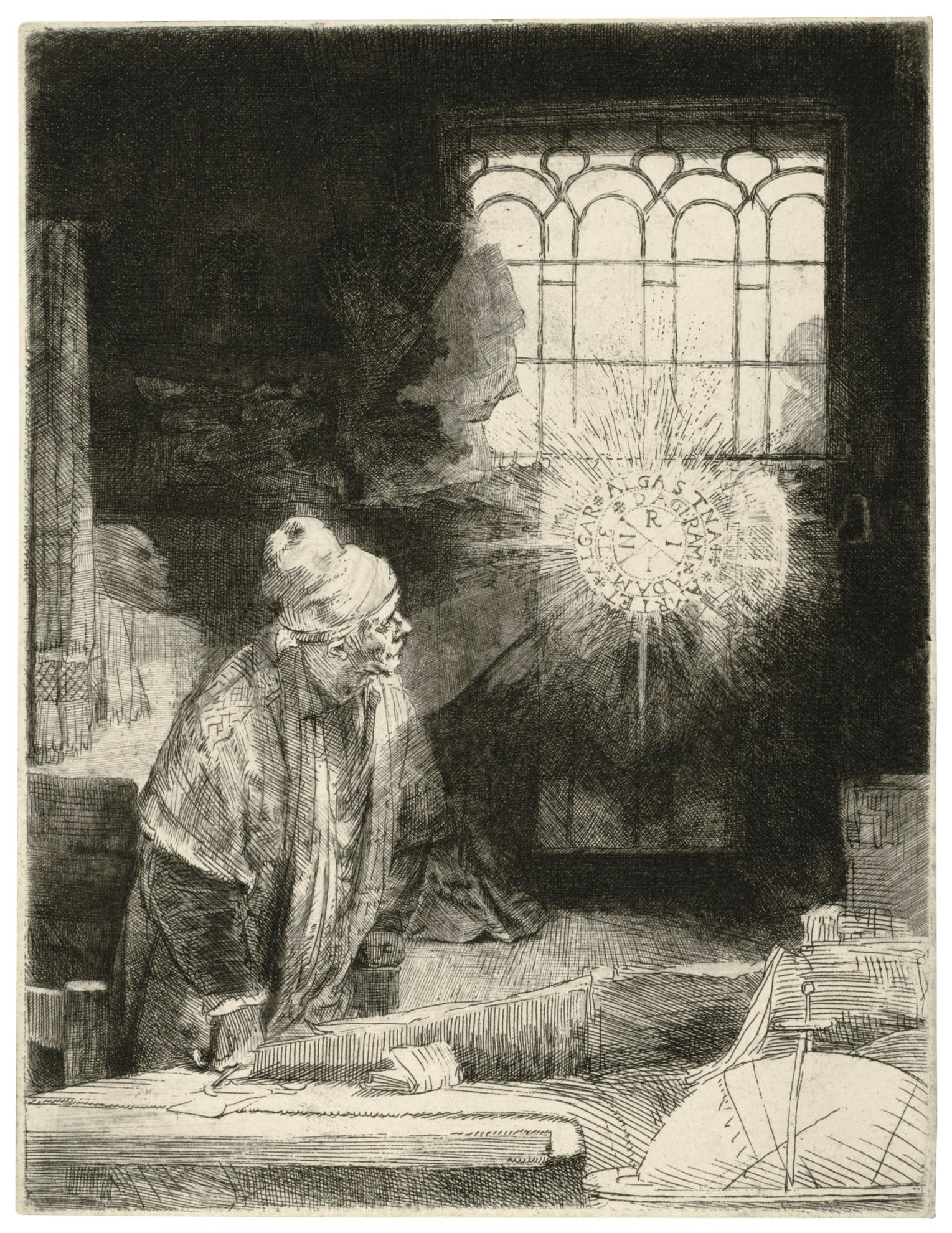 Rembrandt van Rijn-A Scholar In His Study (Faust) (B., Holl. 270; New Holl. 270; H. 260)-1652