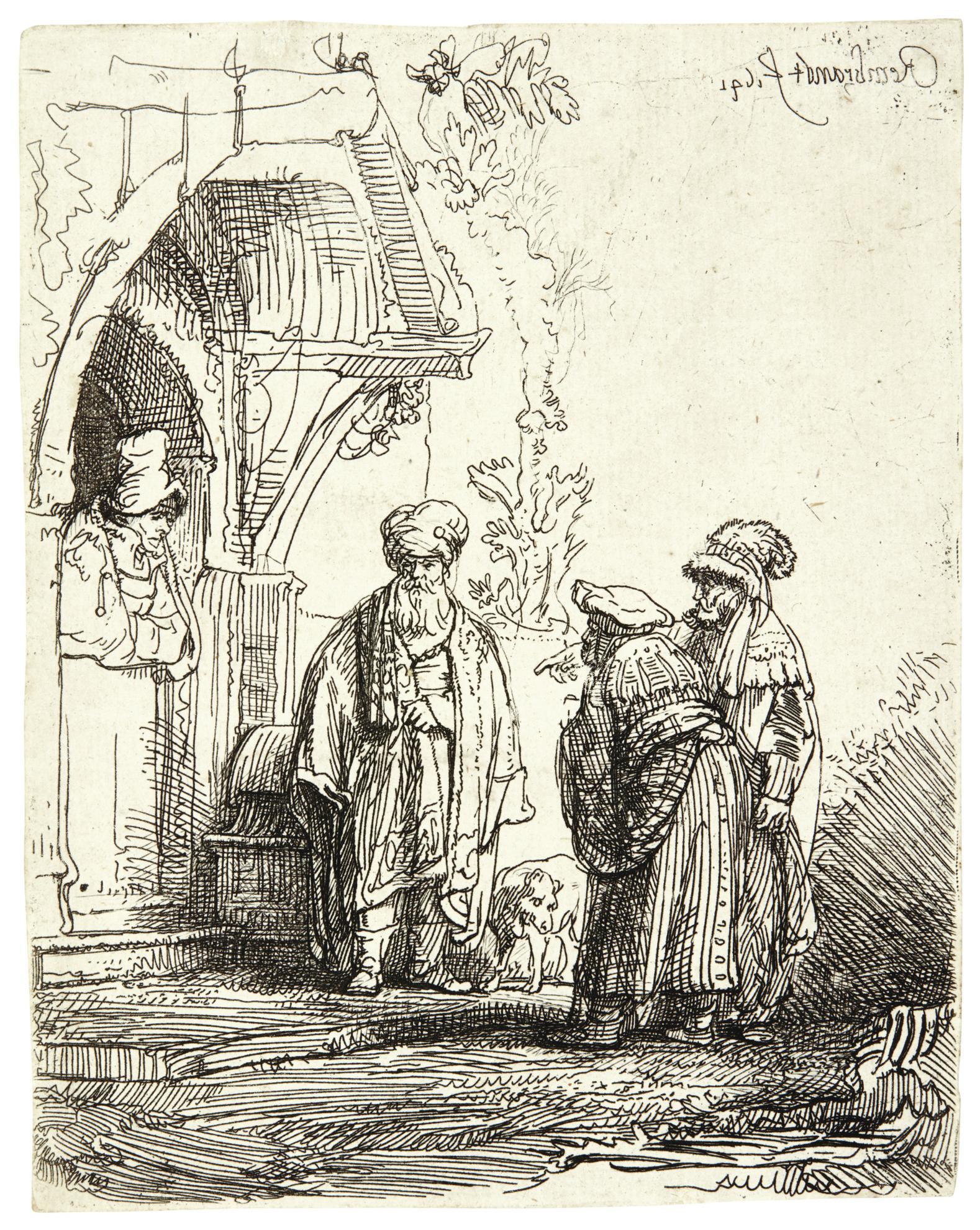 Rembrandt van Rijn-Three Oriental Figures (Jacob And Laban?) (B., Holl. 118; New Holl. 190; H. 183)-1641