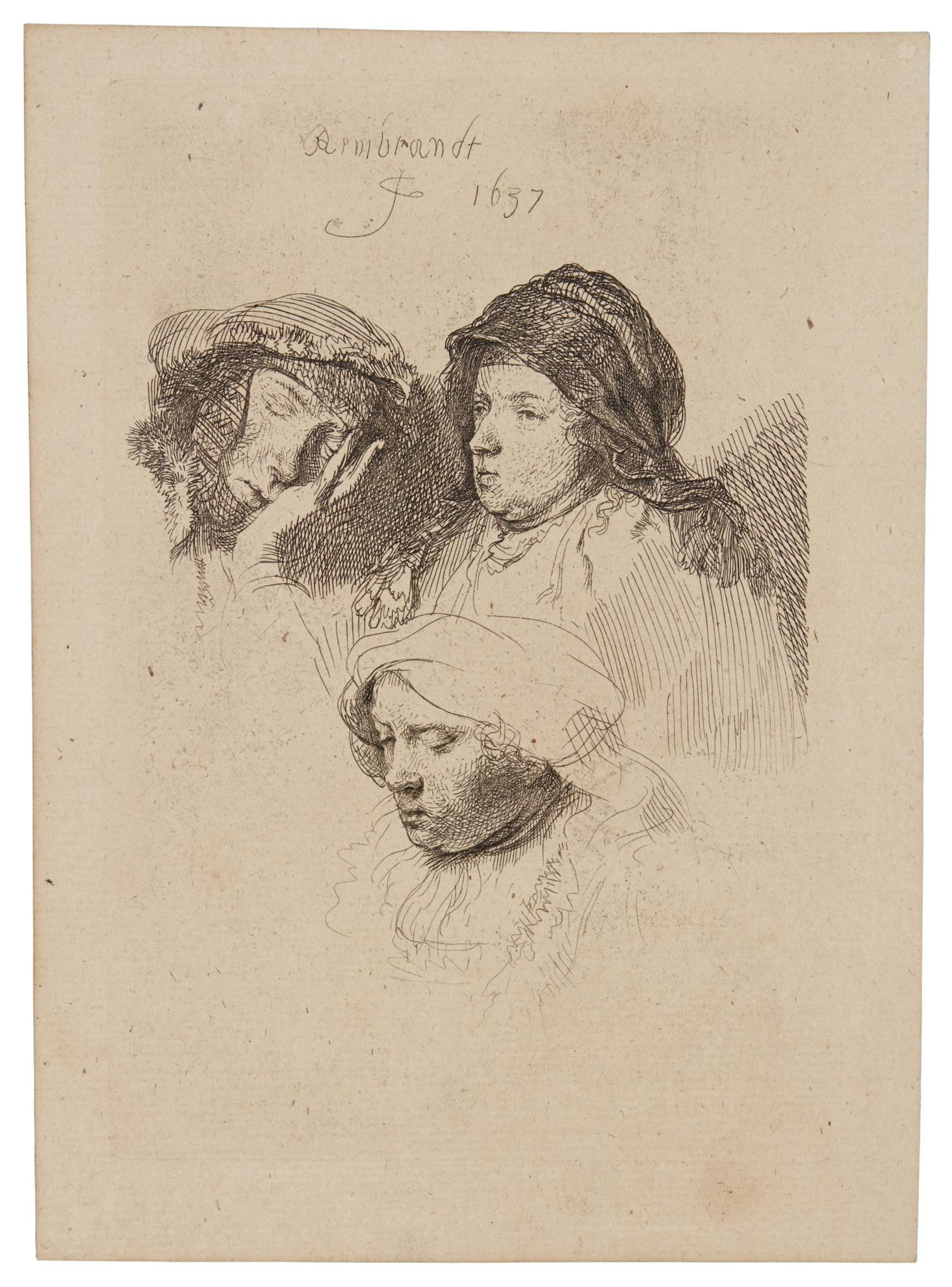 Rembrandt van Rijn-Three Heads Of A Woman: One Asleep (B., Holl. 368; New Holl. 161; H. 152); Painter ('Krabbetje') (New Holl. 236); The Artist's Mother Seated in an Oriental Headdress: Half Length (New Holl. 86); The Artist's Mother with her hand on her chest (New Holl. 87)-1637