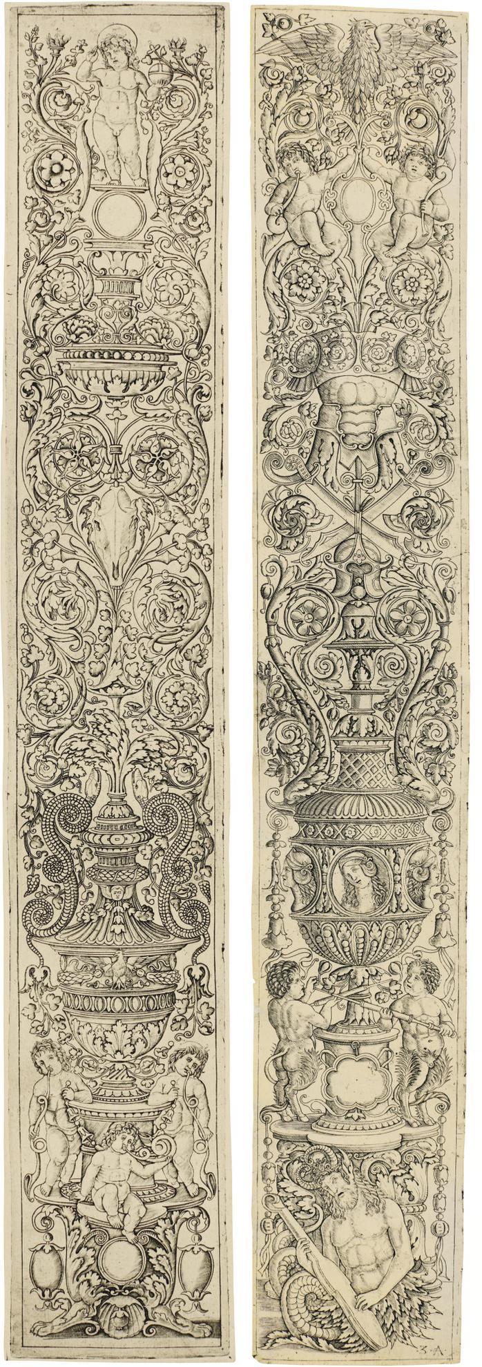 Zoan Andrea & Giovanni Pietro Da Birago - Three Children Blowing Horns; A Triton And Two Infant Satyrs (Bartsch 28, 24)-1507
