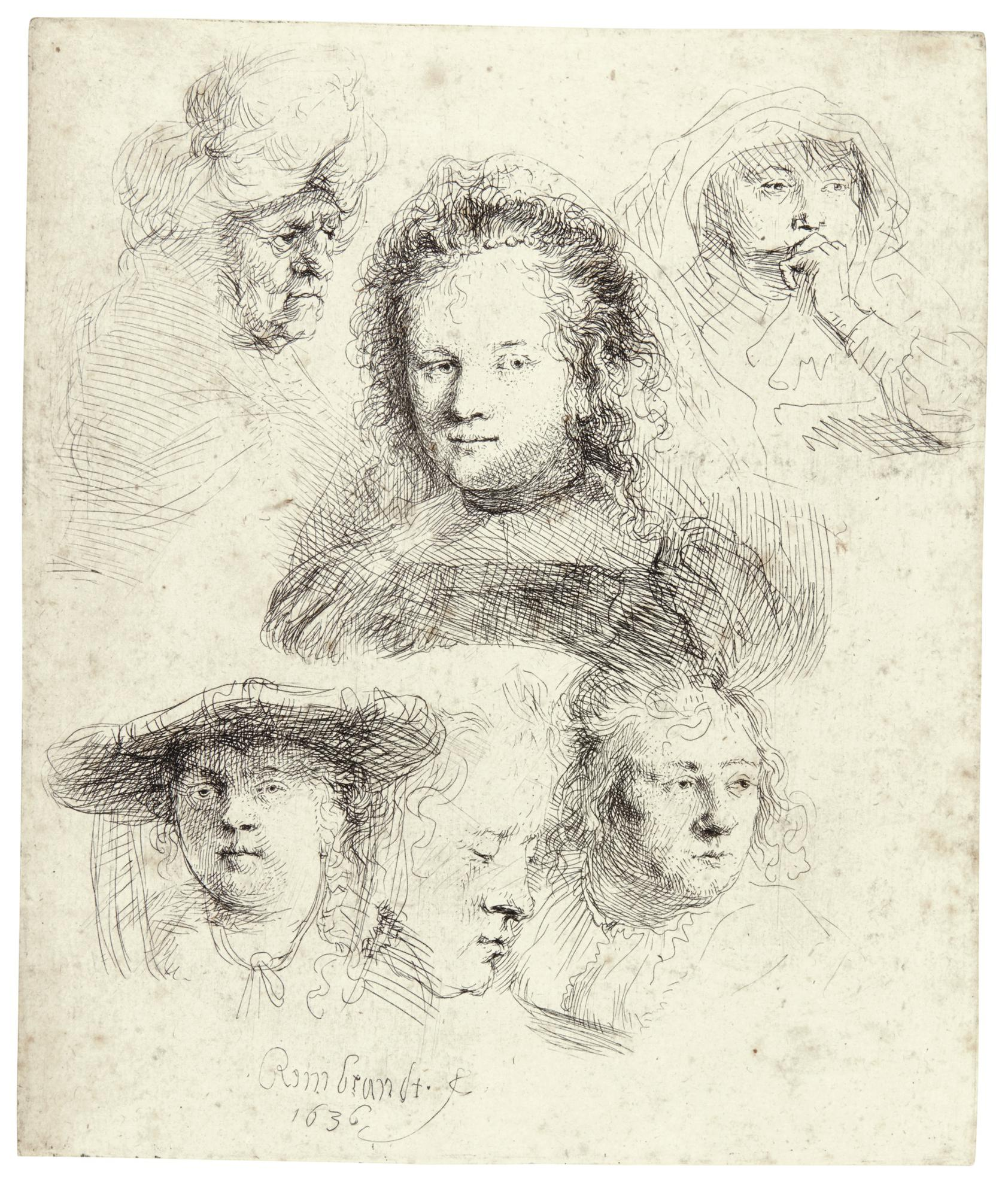 Rembrandt van Rijn-Studies Of The Head Of Saskia And Others (B., Holl. 365; New Holl. 157; H. 145)-1636