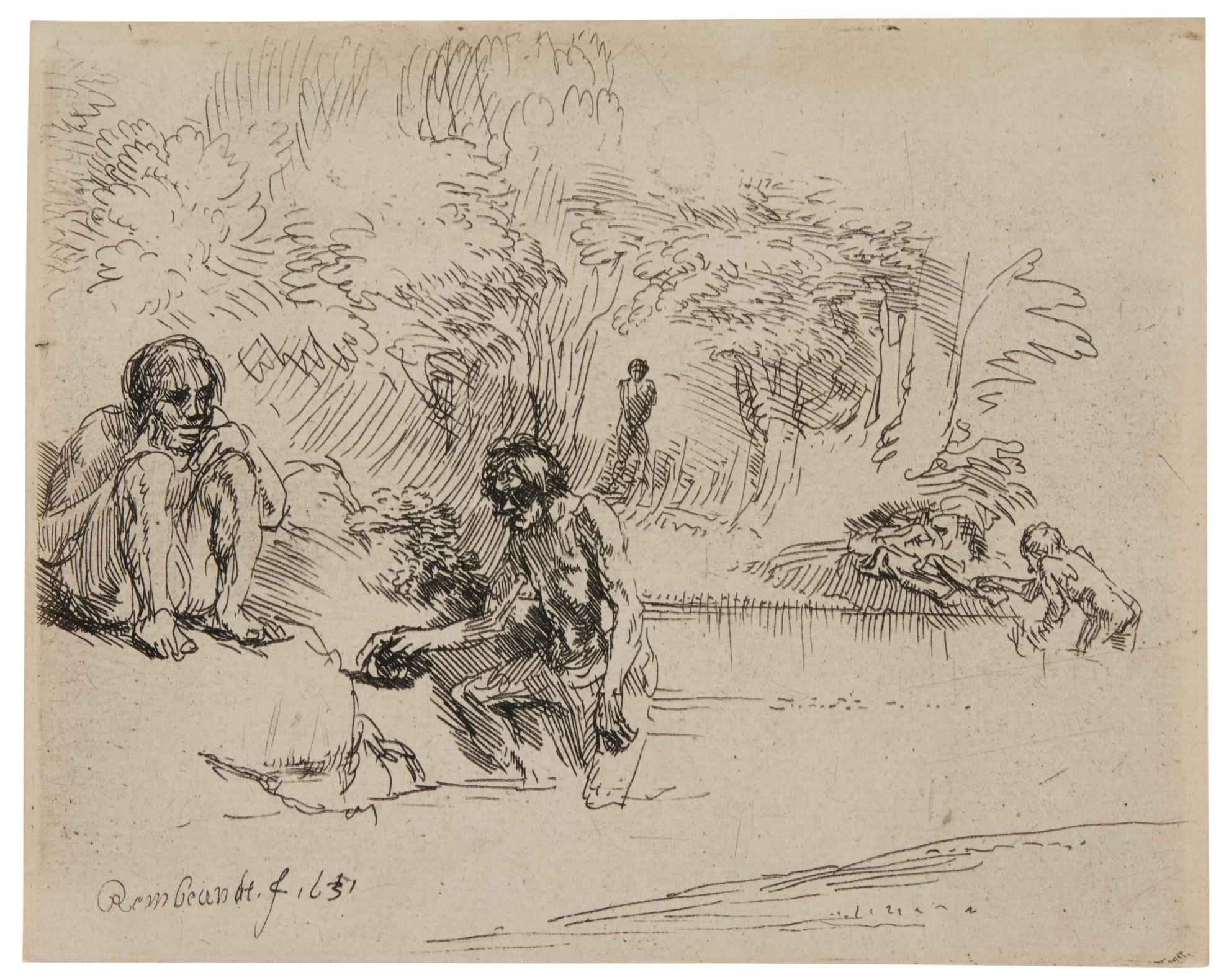 Rembrandt van Rijn-The Bathers (De Zwemmertjes) (B., Holl. 195; New Holl. 258; H. 250)-1651