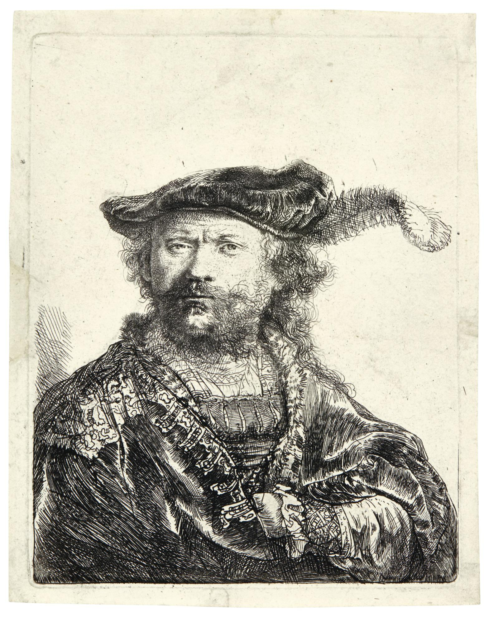 Rembrandt van Rijn-Self-Portrait In A Velvet Cap With Plume (B., Holl. 20; New Holl. 170; H. 156)-1638