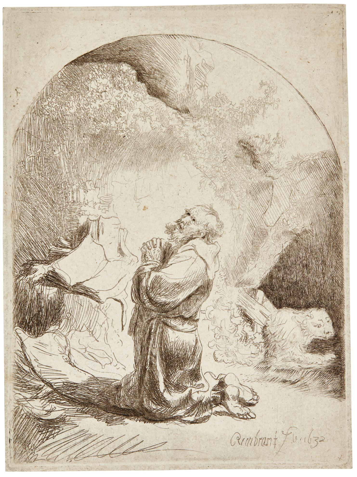 Rembrandt van Rijn-St Jerome Praying: Arched (B., Holl. 101; New Holl. 112; H. 94)-1632