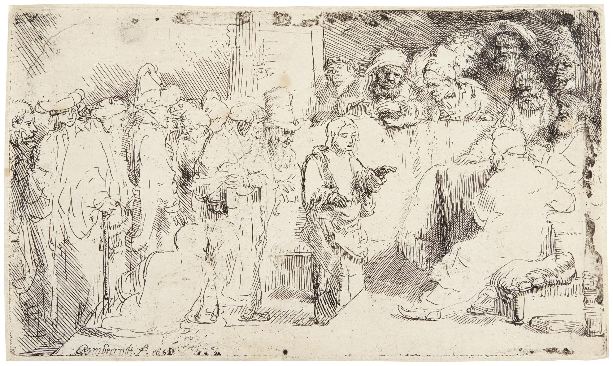 Rembrandt van Rijn-Christ Disputing With The Doctors: A Sketch (B., Holl. 65; New Holl. 267; H. 257)-1652