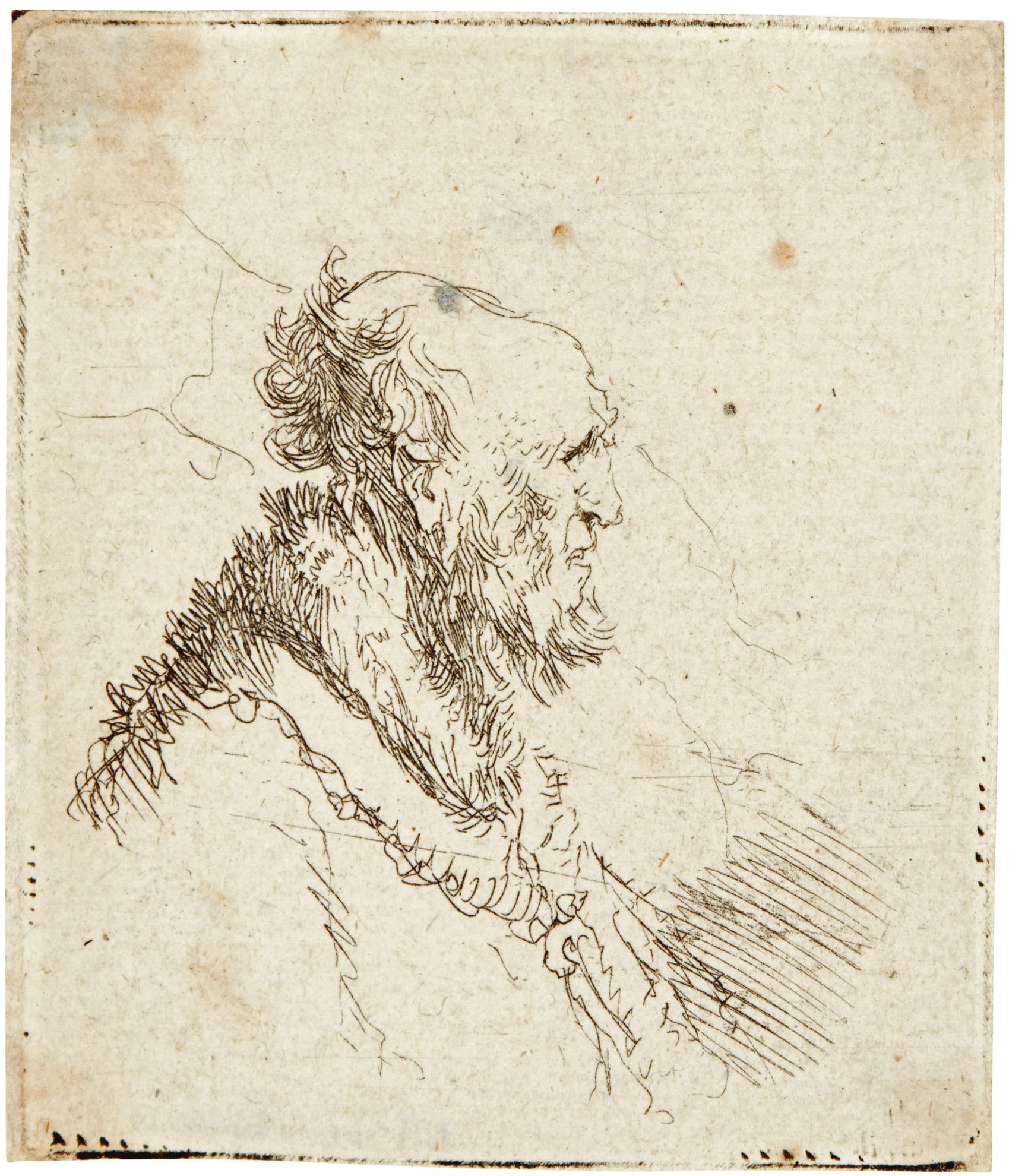 Rembrandt van Rijn-Bald Old Man With Short Beard, In Profile Right (B., Holl. 306; New Holl. 147; H. 136)-1635
