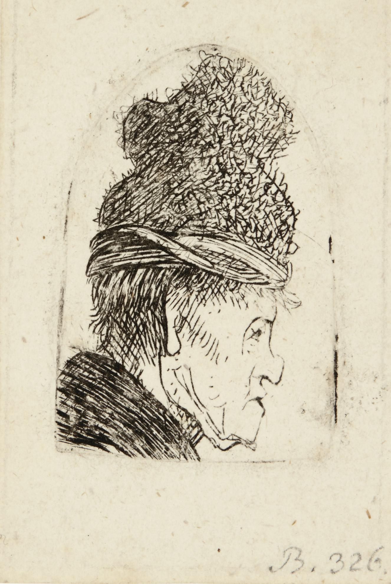 Rembrandt van Rijn-Grotesque Profile: Man In A High Cap (B., Holl. 326; New Holl. 35; H. 68)-1631