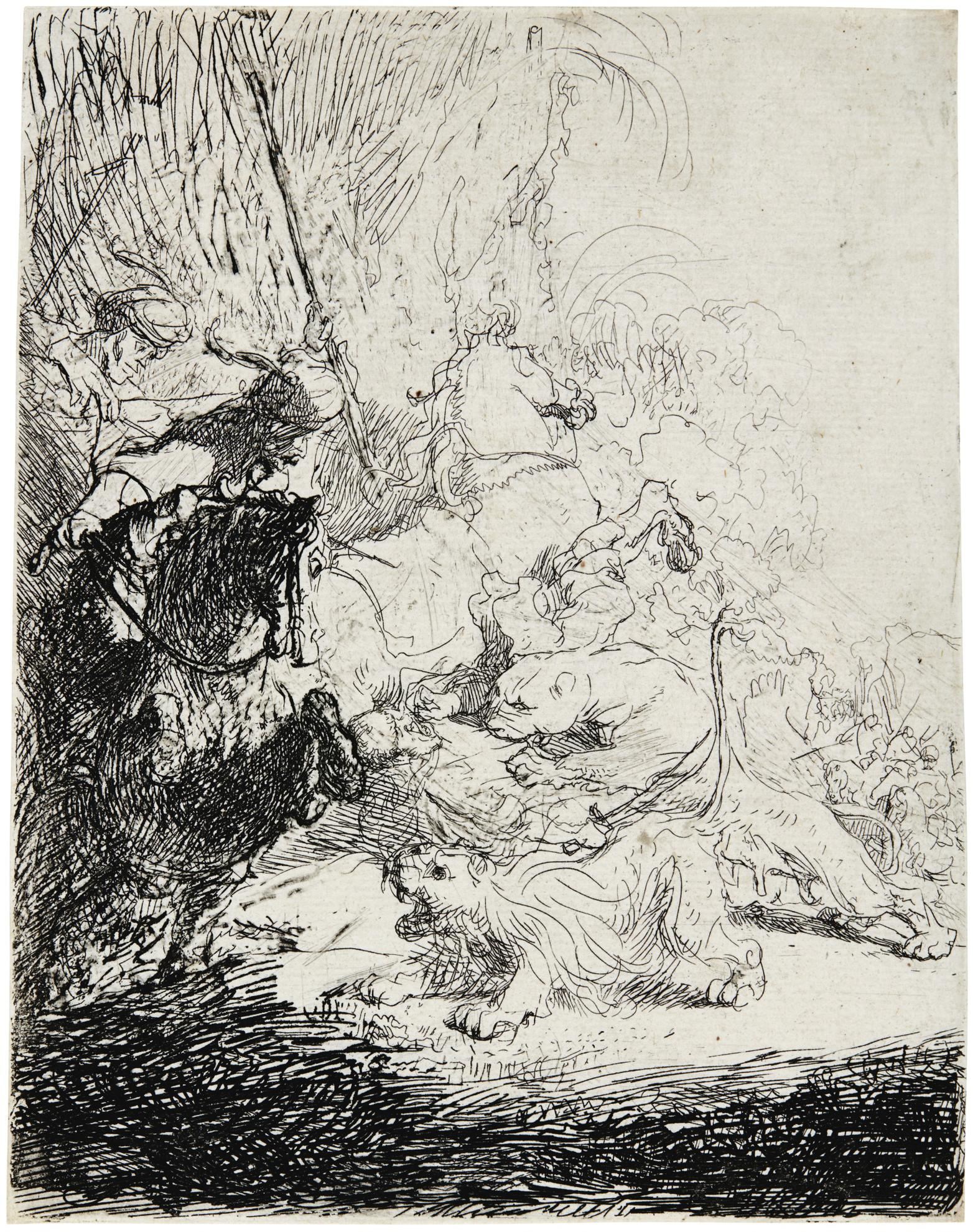 Rembrandt van Rijn-The Small Lion Hunt (With Two Lions) (B., Holl. 115; New Holl. 28; H. 180)-1632