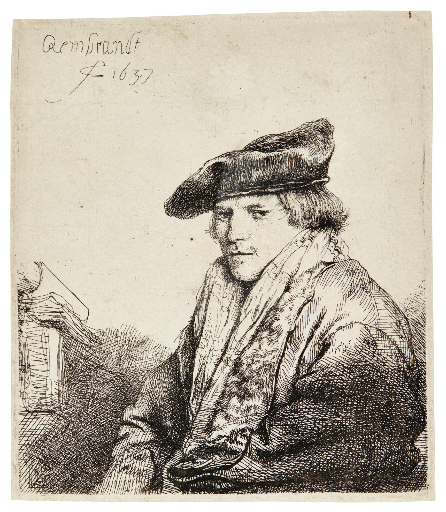 Rembrandt van Rijn-Young Man In A Velvet Cap (Petrus Sylvius?) (B., Holl. 268; New Holl. 164; H. 151)-1637