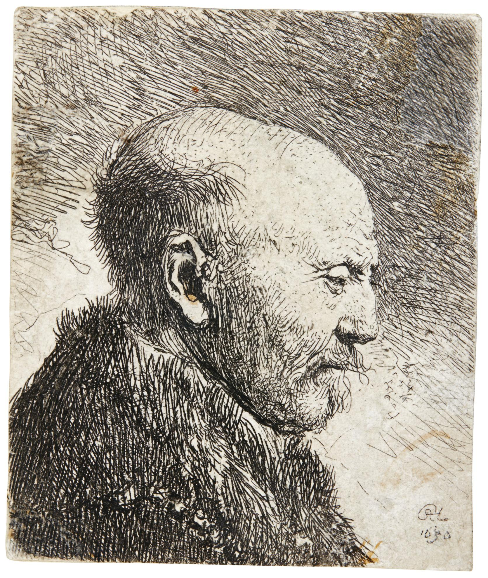 Rembrandt van Rijn-Bald Headed Man In Profile Right: The Artists Father (?) (B., Holl. 292; New Holl. 62; H. 23)-1630