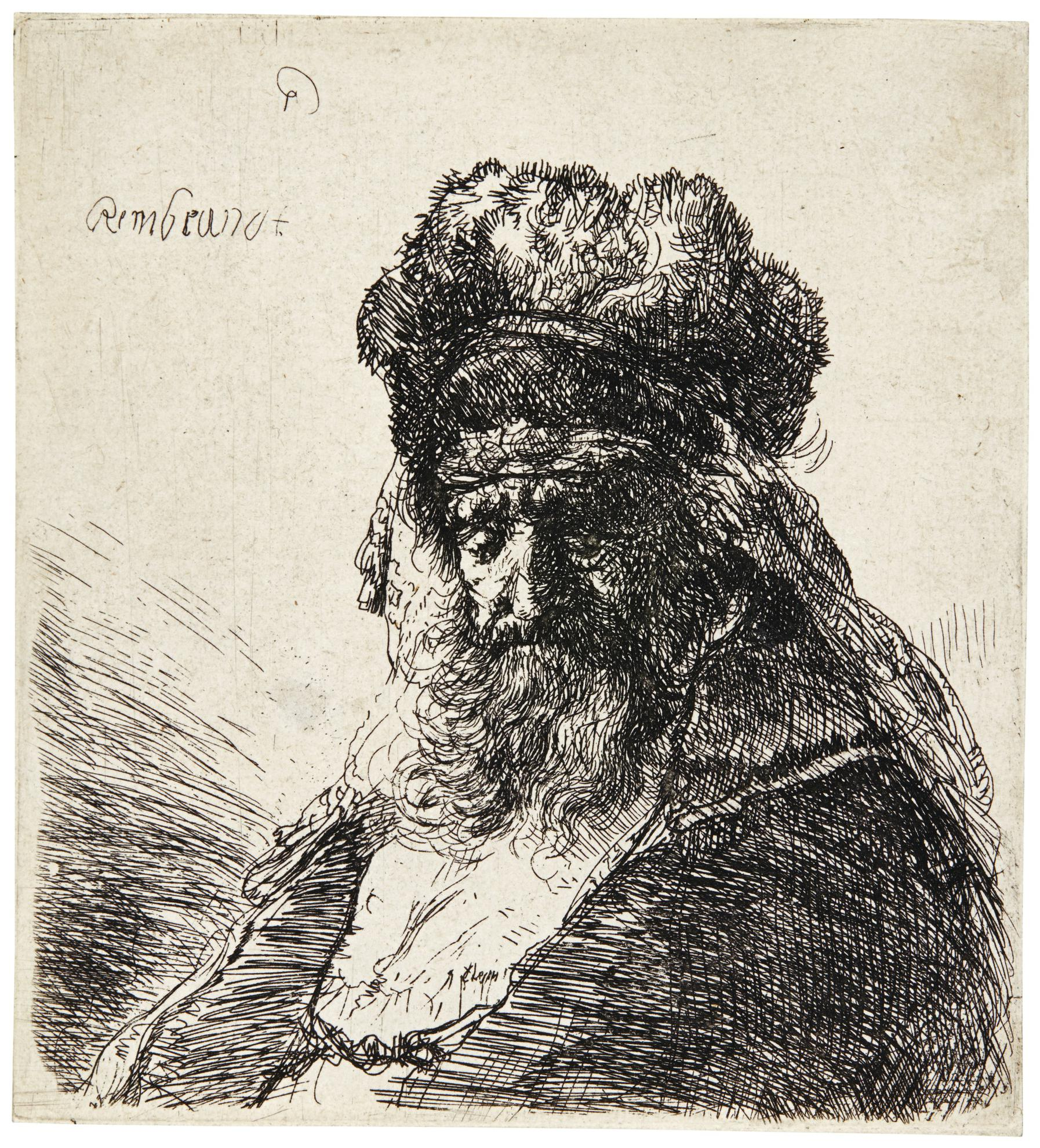 Rembrandt van Rijn-Bearded Old Man In A High Fur Cap, With Eyes Closed (B., Holl. 290; New Holl. 148; H. 130)-1635