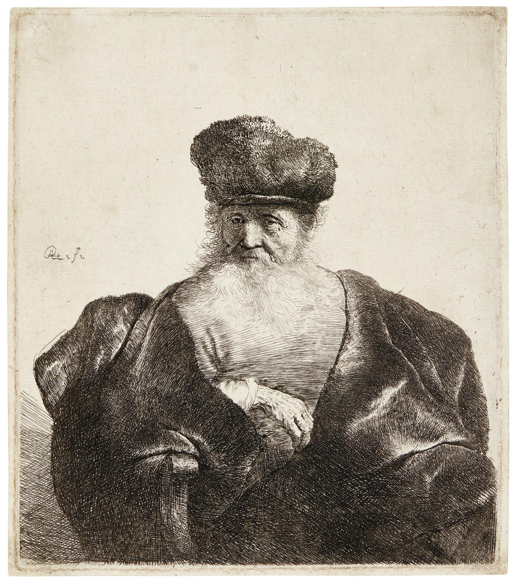 Rembrandt van Rijn-Old Man With Beard, Fur Cap, And Velvet Cloak (B., Holl. 262; New Holl. 92; H. 92)-1631