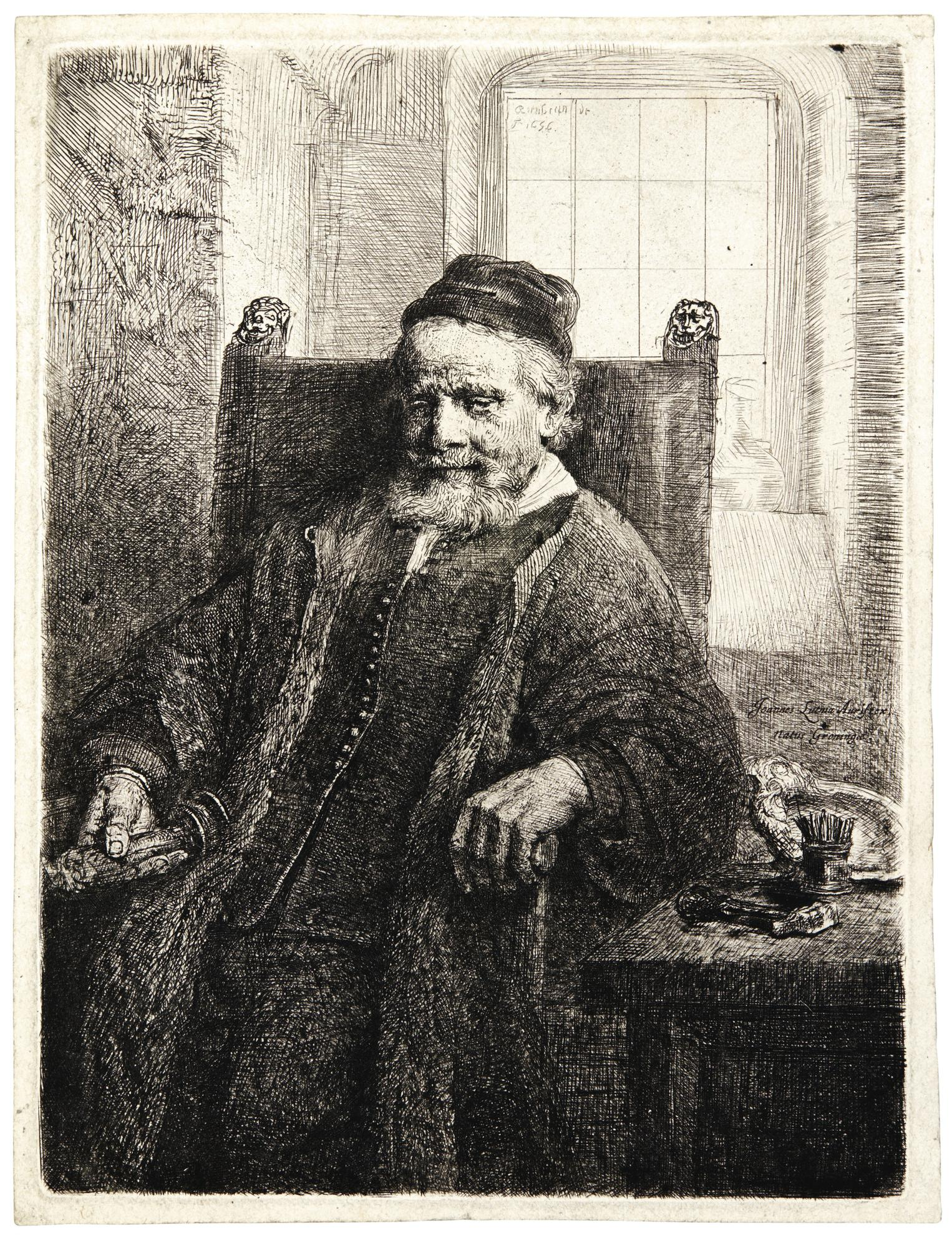 Rembrandt van Rijn-Jan Lutma, Goldsmith (B., Holl. 276; New Holl. 293; H. 290)-1656
