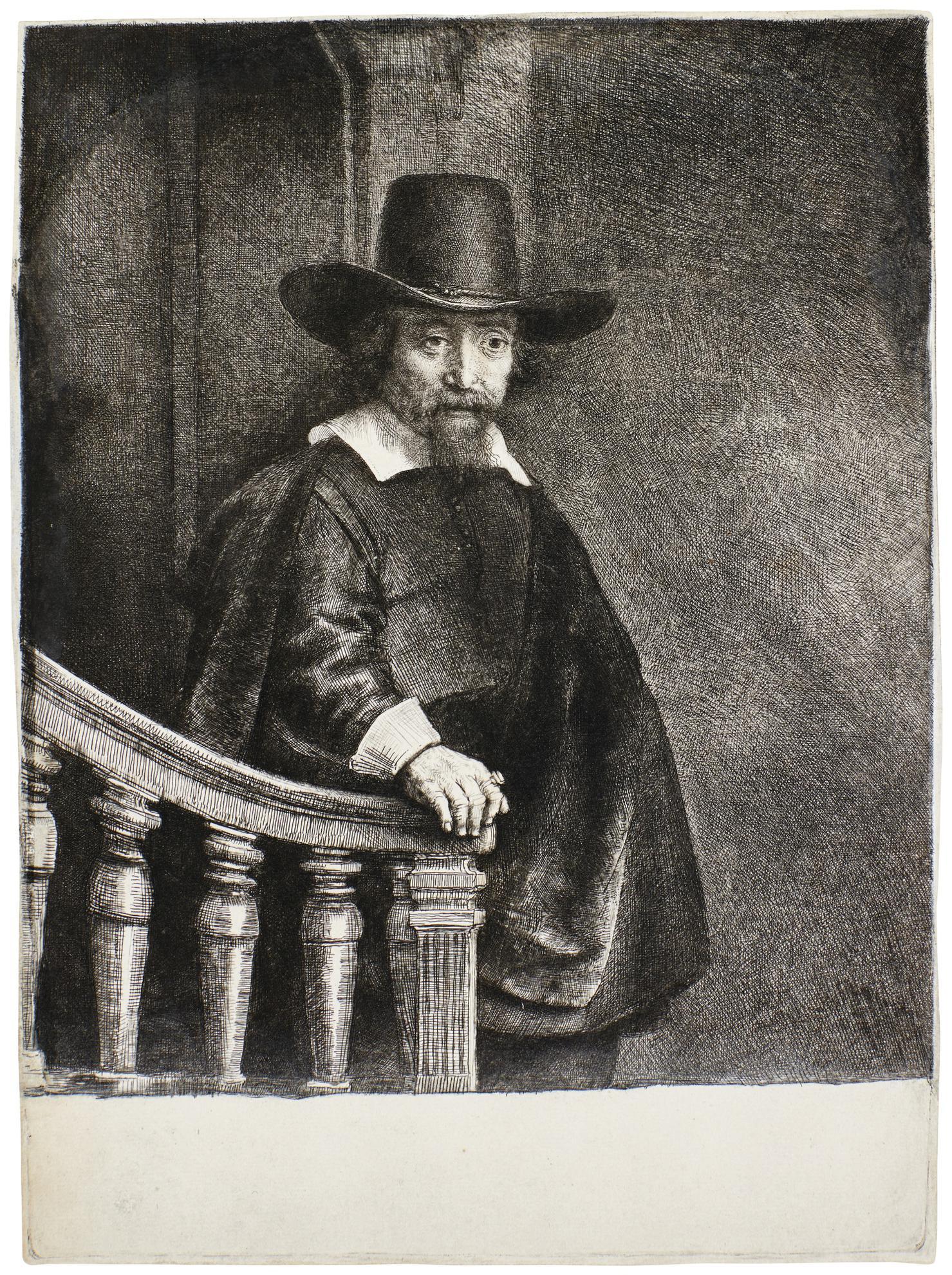 Rembrandt van Rijn-Ephraim Bonus, Jewish Physician (B., Holl. 278; New Holl. 237; H. 226)-1647