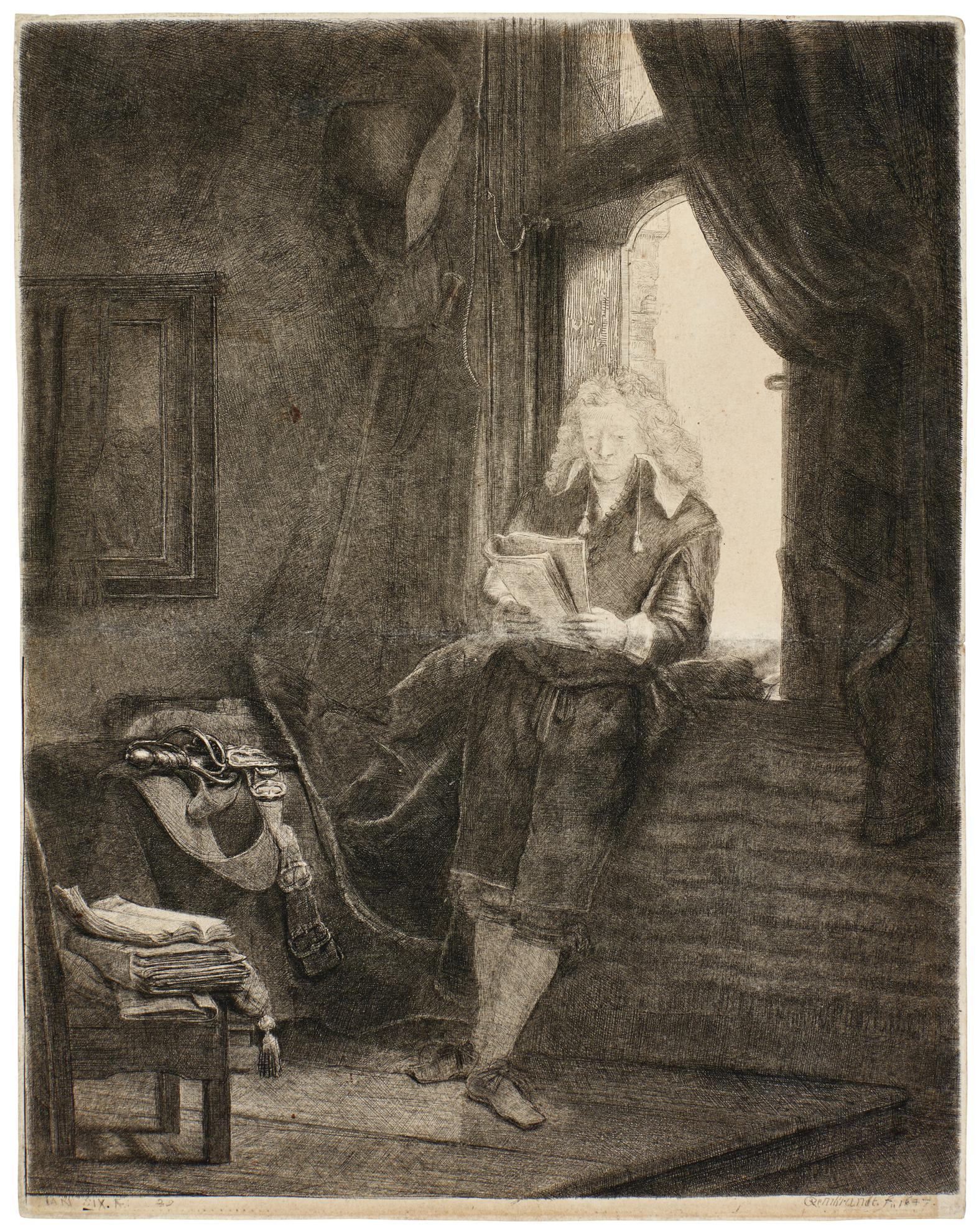 Rembrandt van Rijn-Jan Six (B., Holl. 285; New Holl. 238; H. 228)-1647