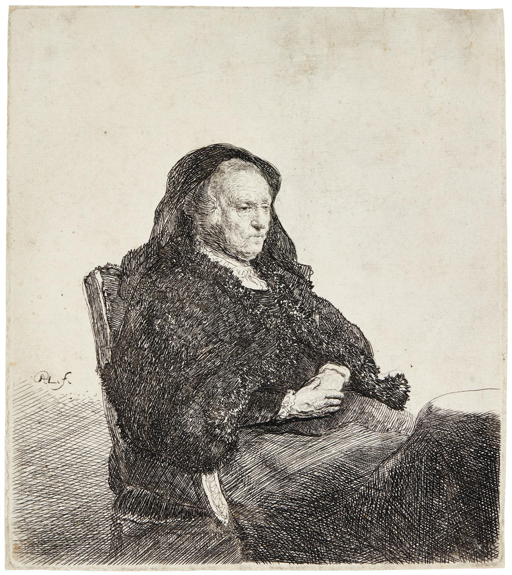 Rembrandt van Rijn-The Artists Mother Seated At A Table, Looking Right: Three Quarter Length (B., Holl. 343; New Holl. 91; H. 52)-1631