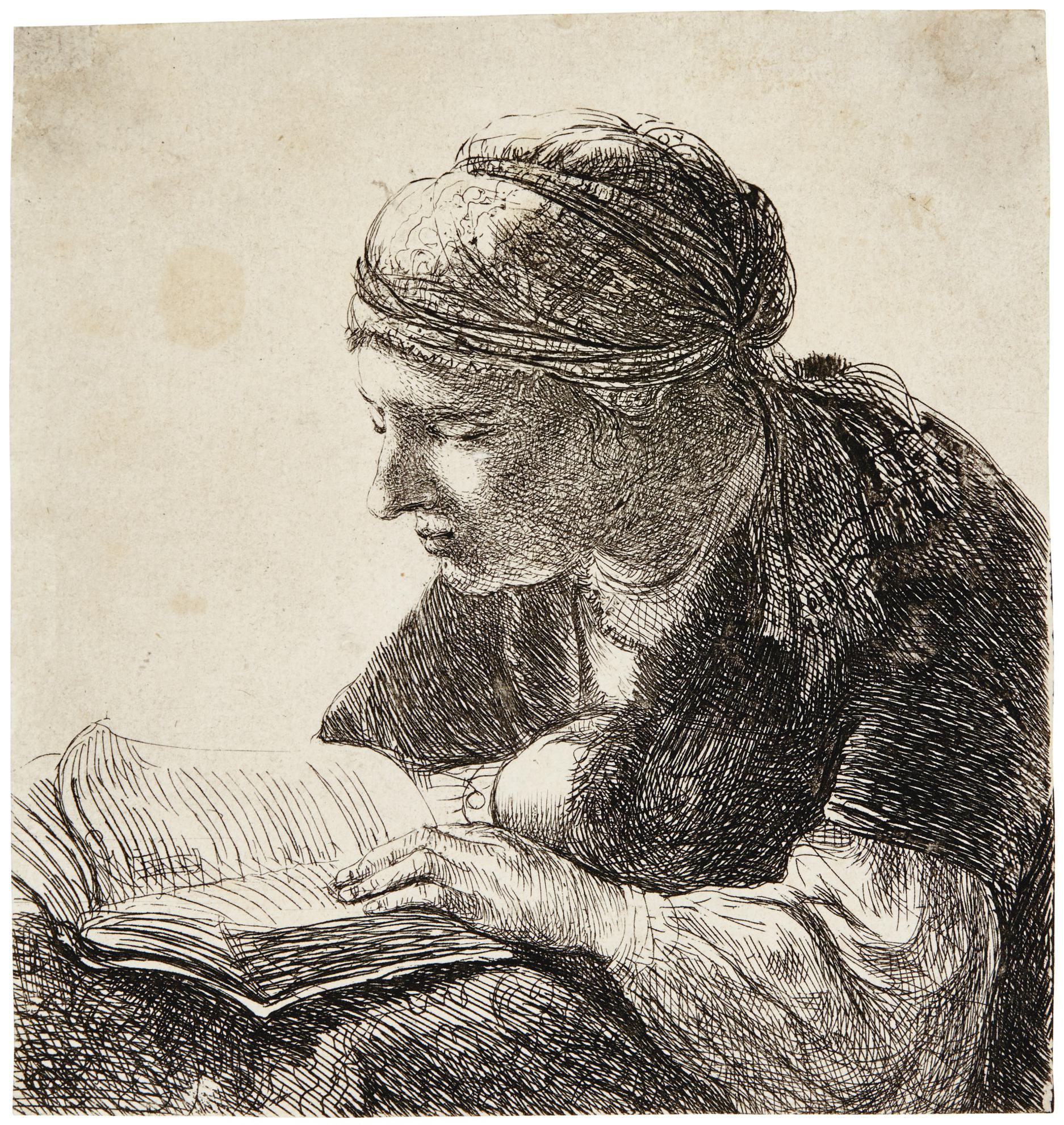 Rembrandt van Rijn-Woman Reading (B., Holl. 345; New Holl. 137; H. 113)-1634
