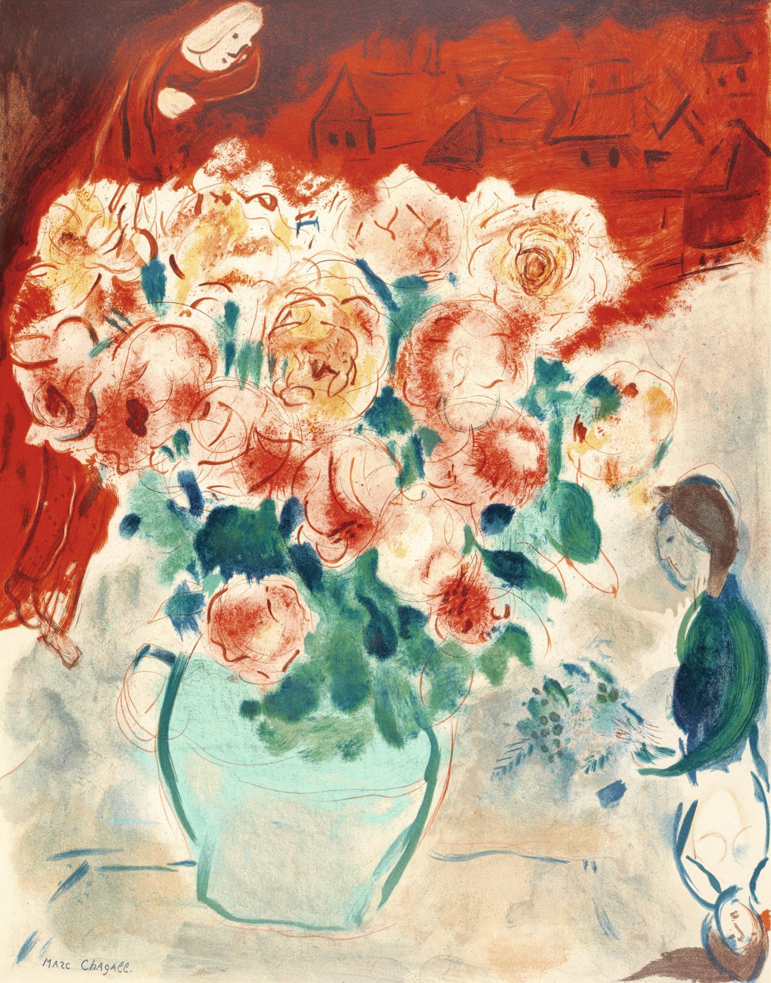 After Marc Chagall - Le Bouquet (Mourlot Charles Sorlier 8)-1955