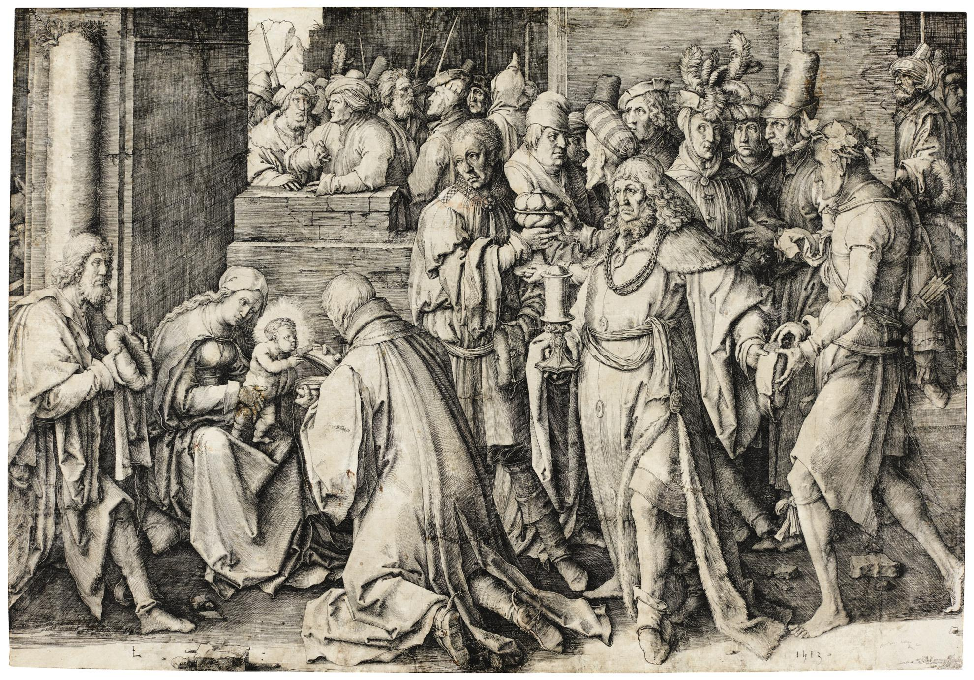 Lucas Van Leyden-Adoration Of The Magi (Bartsch 37)-1513
