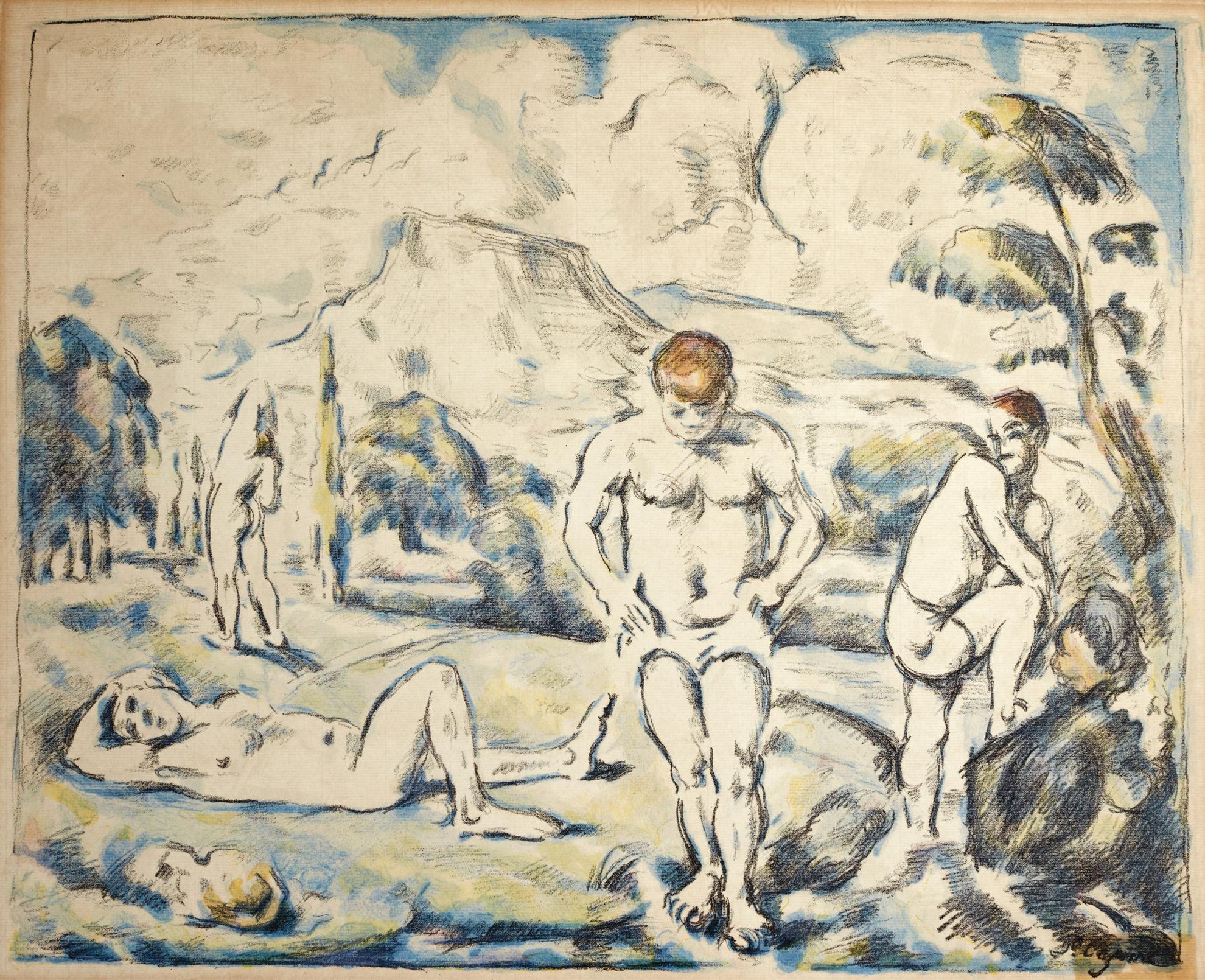 Paul Cezanne-Les Baigneurs (Grande Planche) (Druick I; Venturi 1157)-1898