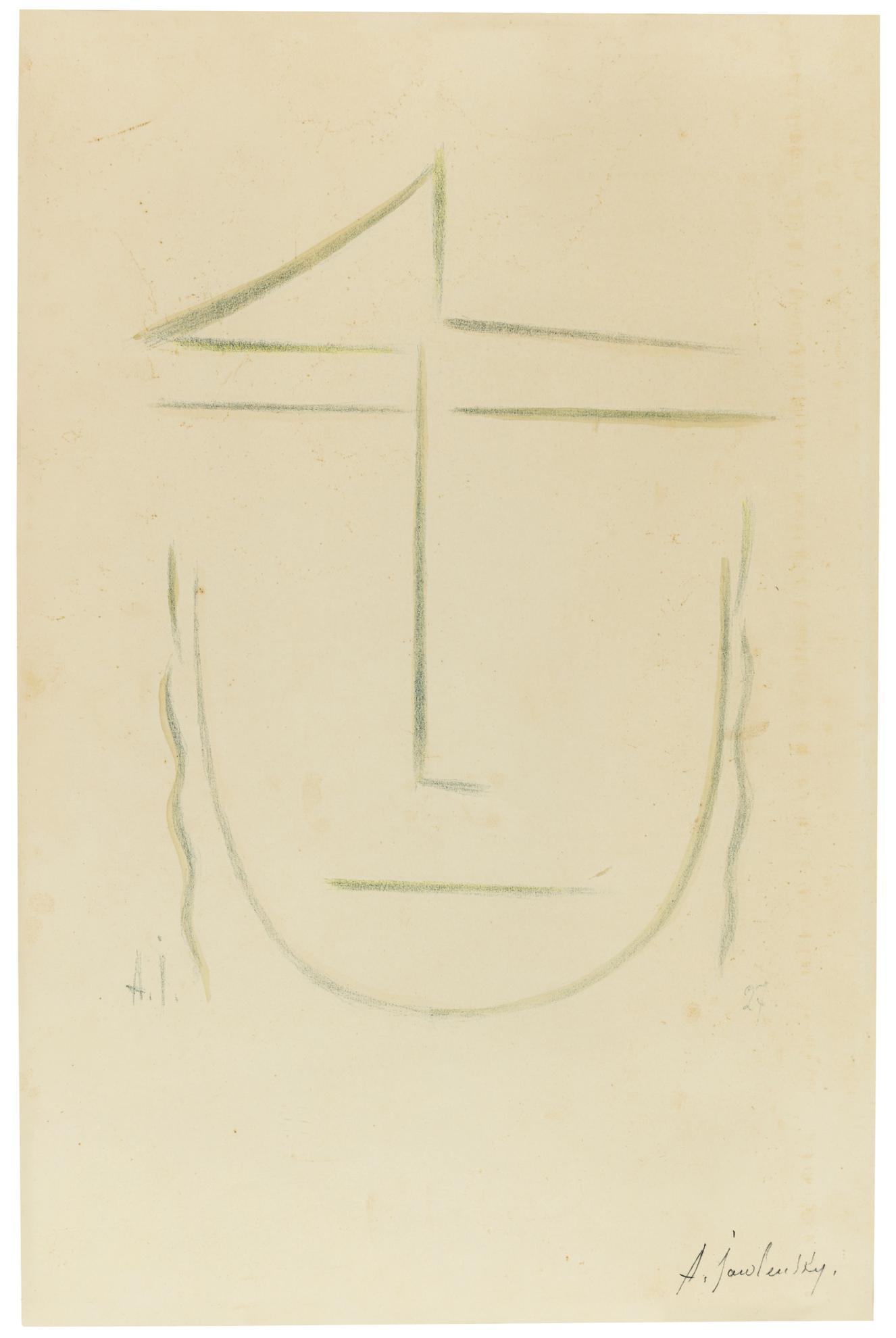 Alexej von Jawlensky-Kopf (Zweifelnd) (Rosenbach 37)-1927