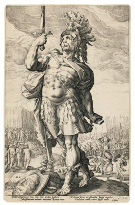 Hendrick Goltzius-The Roman Heroes; And The Standard-Bearer, Facing Left (Bartsch, Hollstein 96-98, 100-102, 217; Strauss 231-233, 235-237, 161)-1586