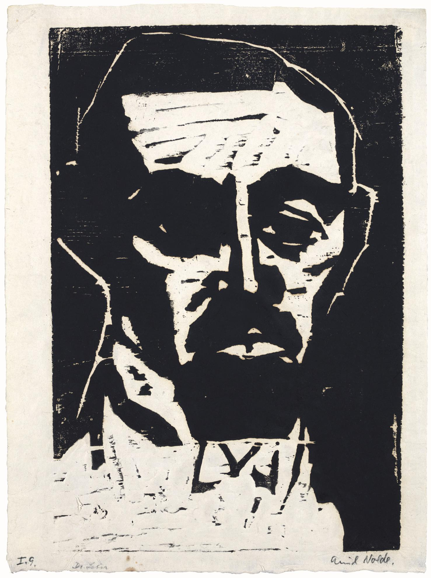 Emil Nolde-Dr. L (Portrait Dr. Leber) (Sch./M. H103)-1912