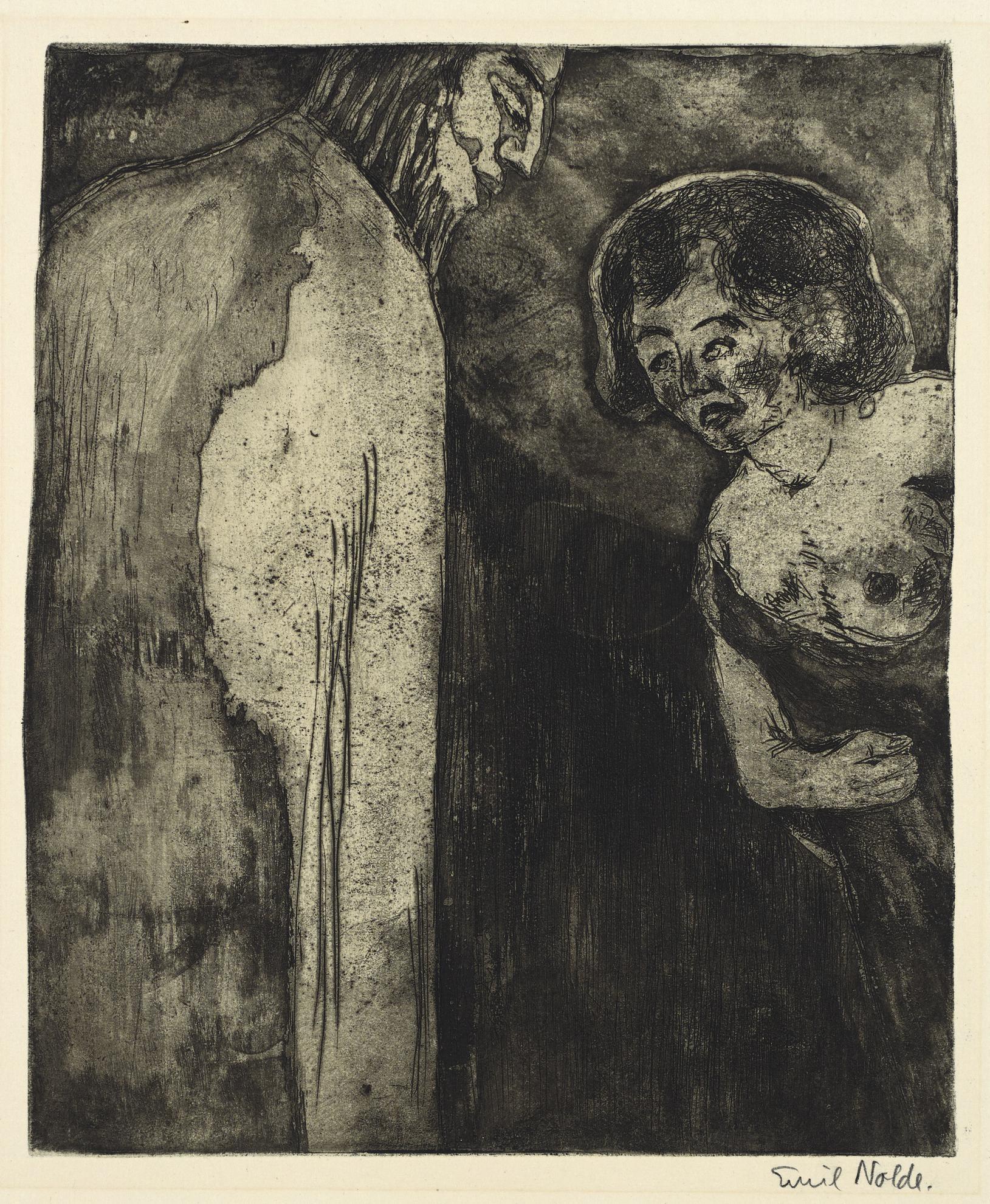 Emil Nolde-Christus Und Die Sunderin (Sch./M. R155)-1911