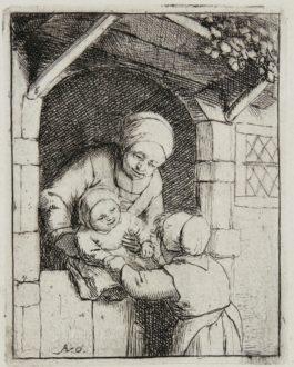 Adriaen Van Ostade - Mother With Two Children (Godefrey 14); The Empty Jug; The Schoolmaster; The Mother (Hollstein I. 224.30)-1675