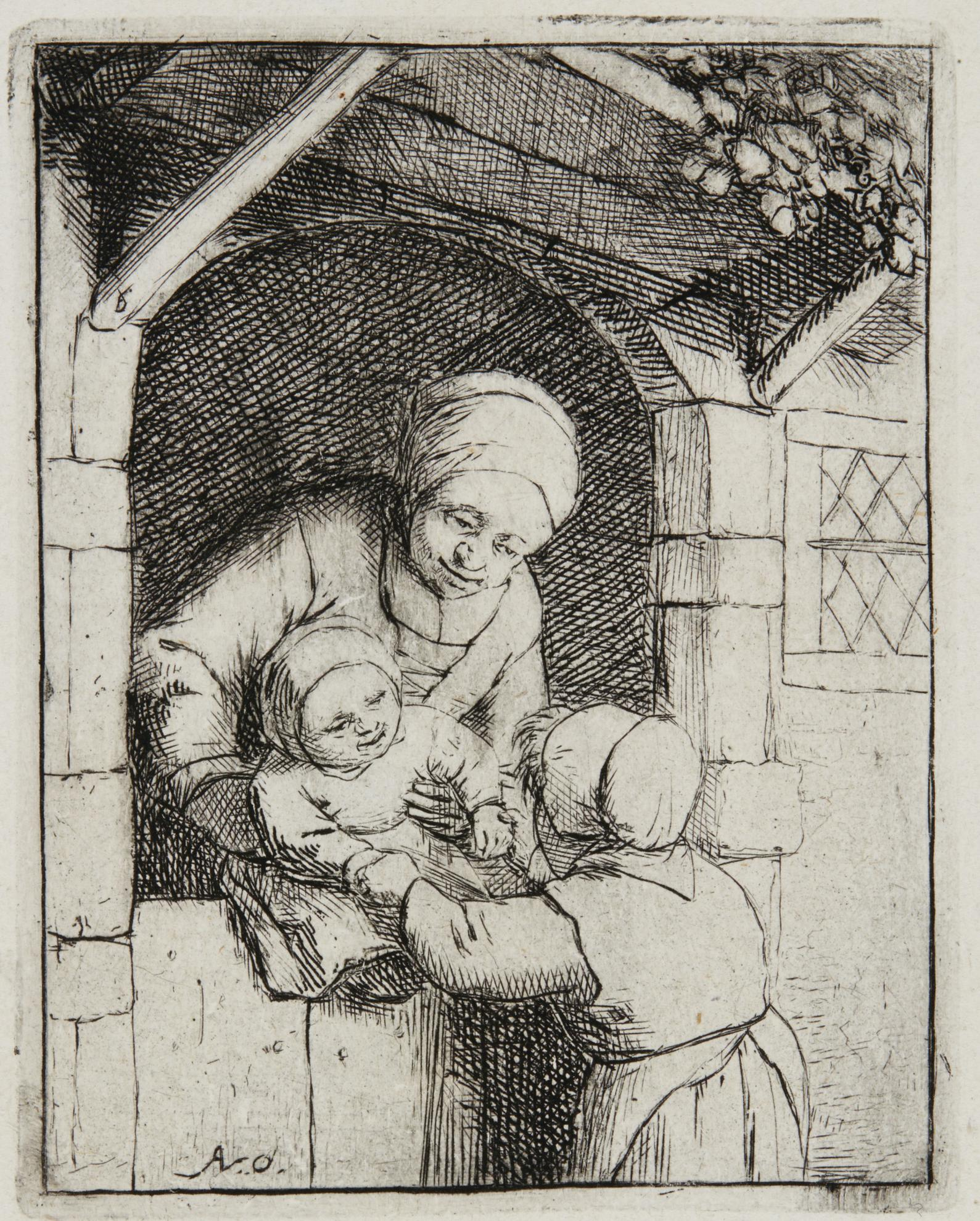 Adriaen Van Ostade - Mother With Two Children (Godefrey 14); The Empty Jug; The Schoolmaster; The Mother (Hollstein I. 224.30)-1675