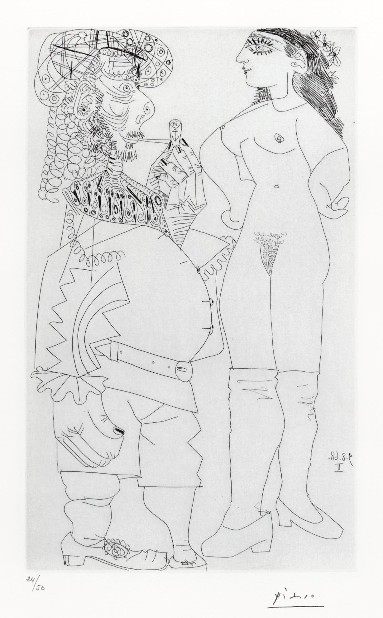 Pablo Picasso-Vieux Marin Bedonnant A La Pipe Et Jeune Prostituee Meprisante (B. 1741; Ba. 1758)-1969