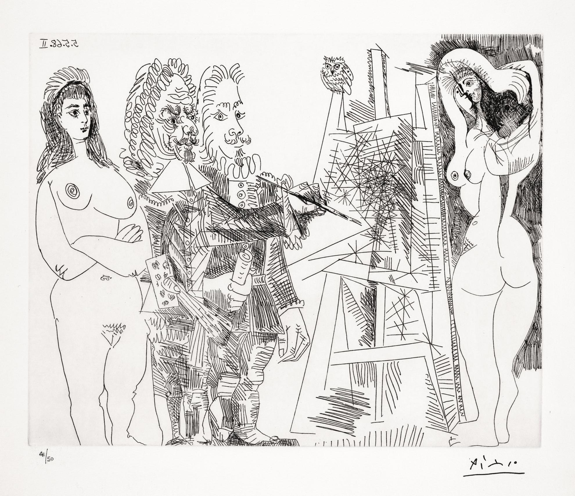 Pablo Picasso-Latelier, Avec Un Hibou Et Un Envoye Officiel (B. 1545; Ba. 1561)-1968