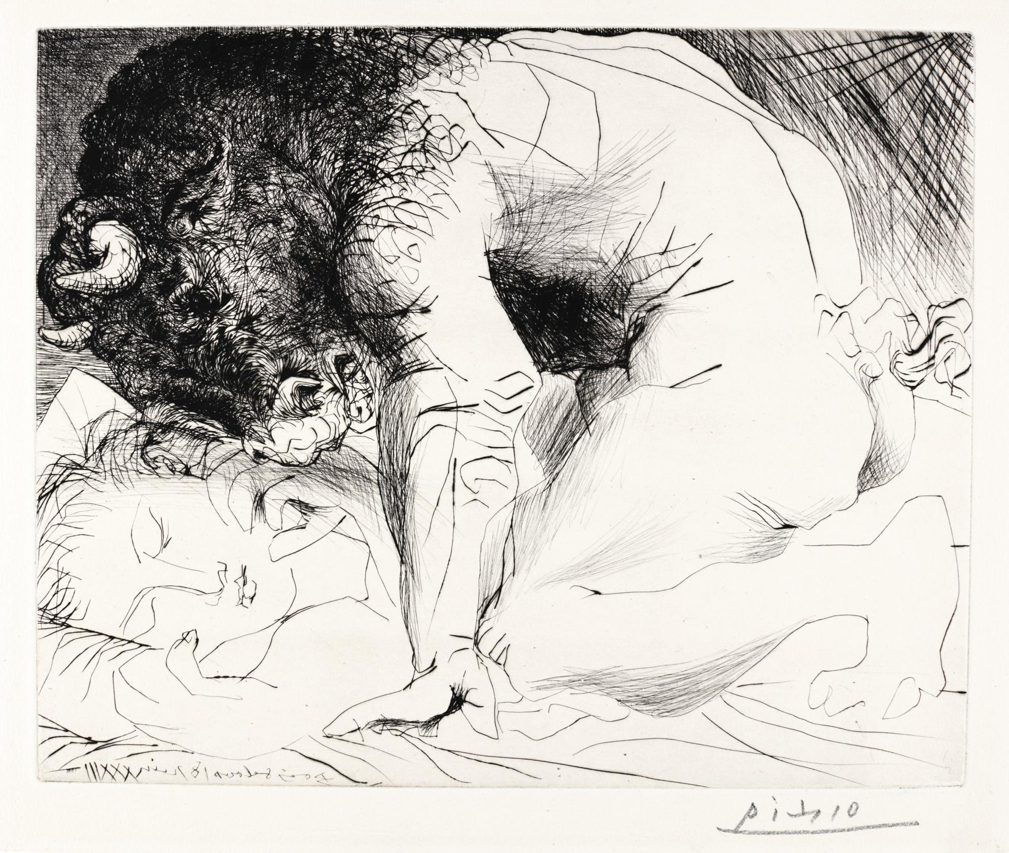 Pablo Picasso-Minotaure Caressant Une Dormeuse (B. 201; Ba. 369)-1933