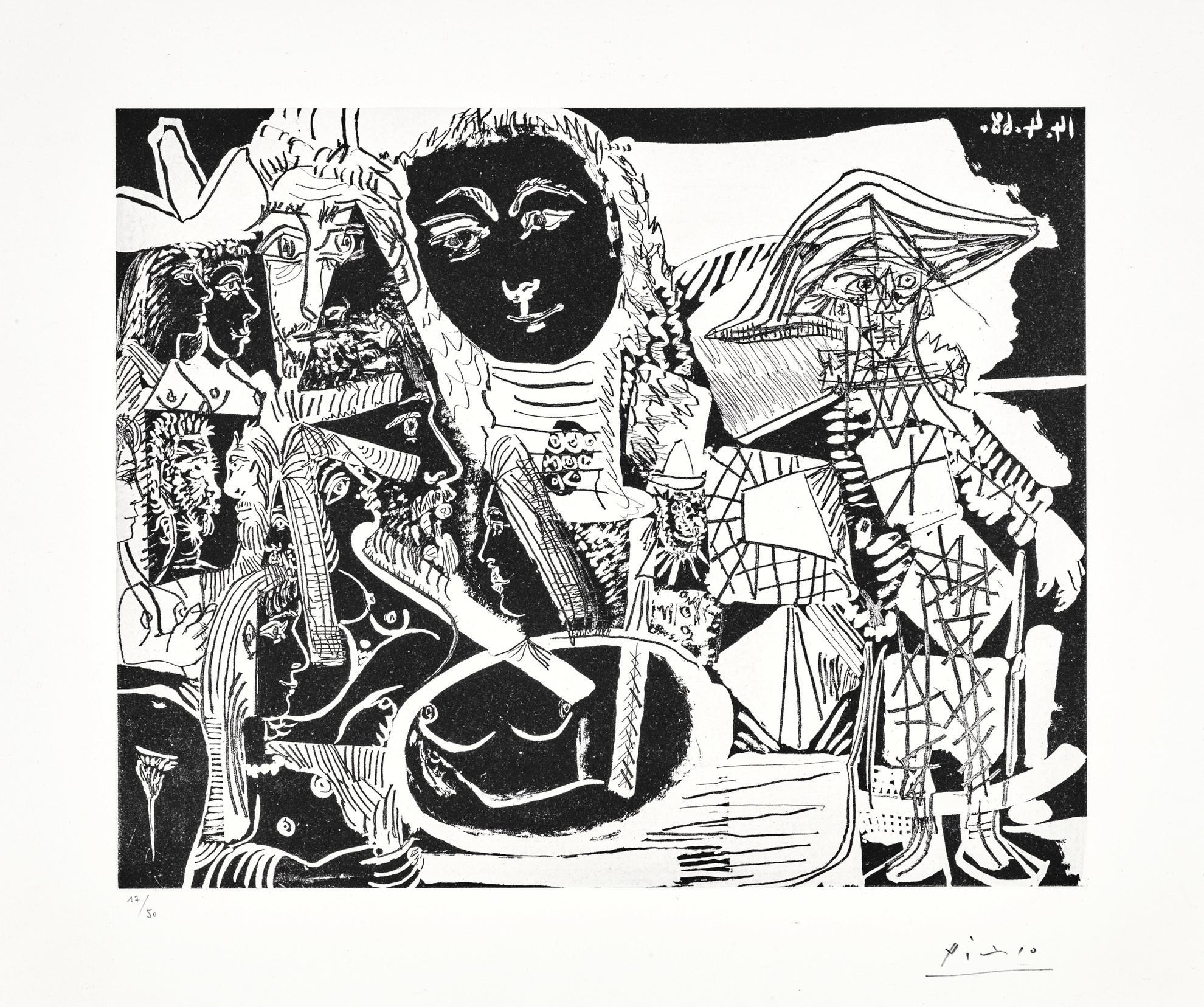Pablo Picasso-Arlequin Et Personnages Divers (B. 1517; Ba. 1533)-1968
