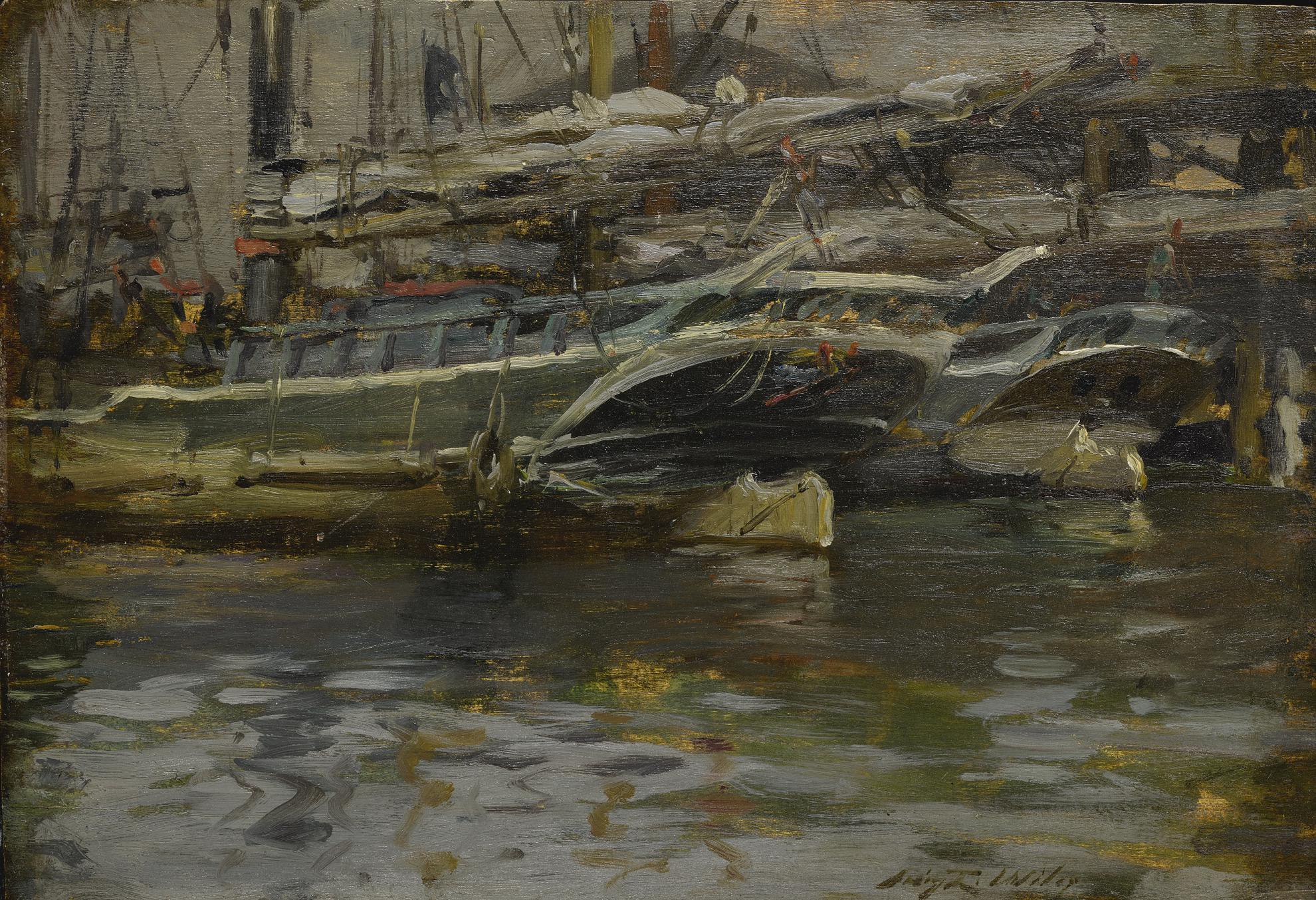 Irving Ramsey Wiles - Untitled (Harbor Scene)-