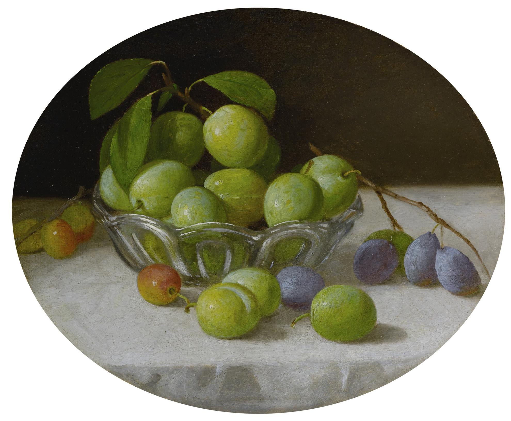 John F. Francis - Still Life With Plums In A Glass Bowl-