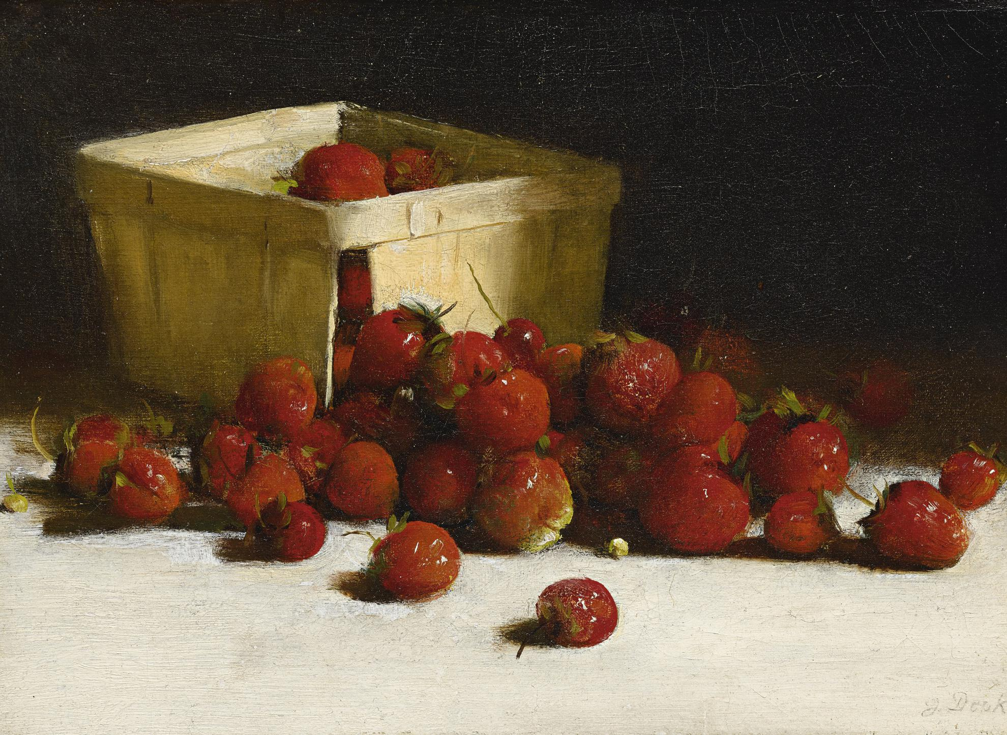 Joseph Decker - Still Life With Strawberries-1890