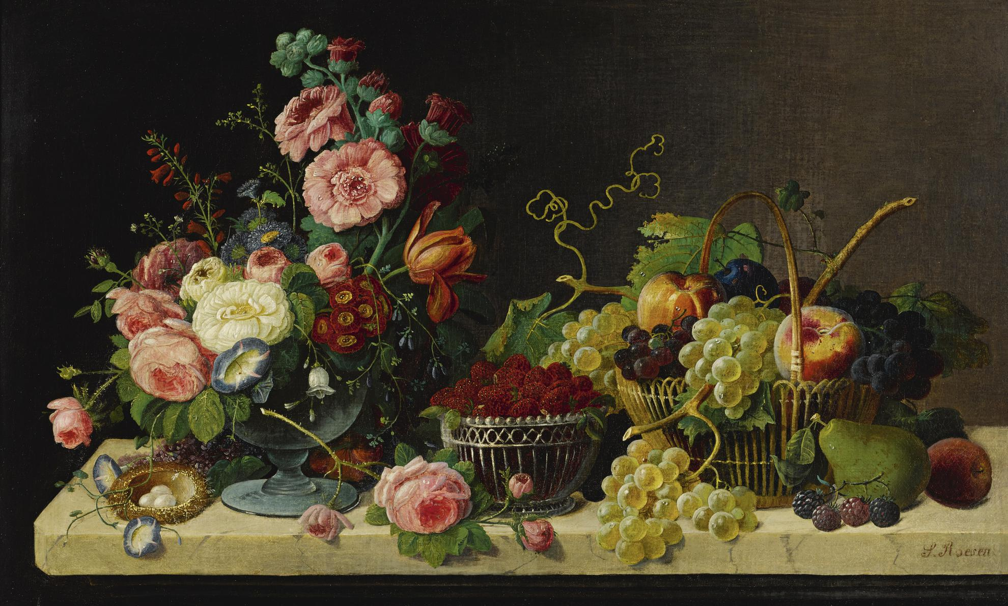 Severin Roesen - Flowers And Fruit-1871
