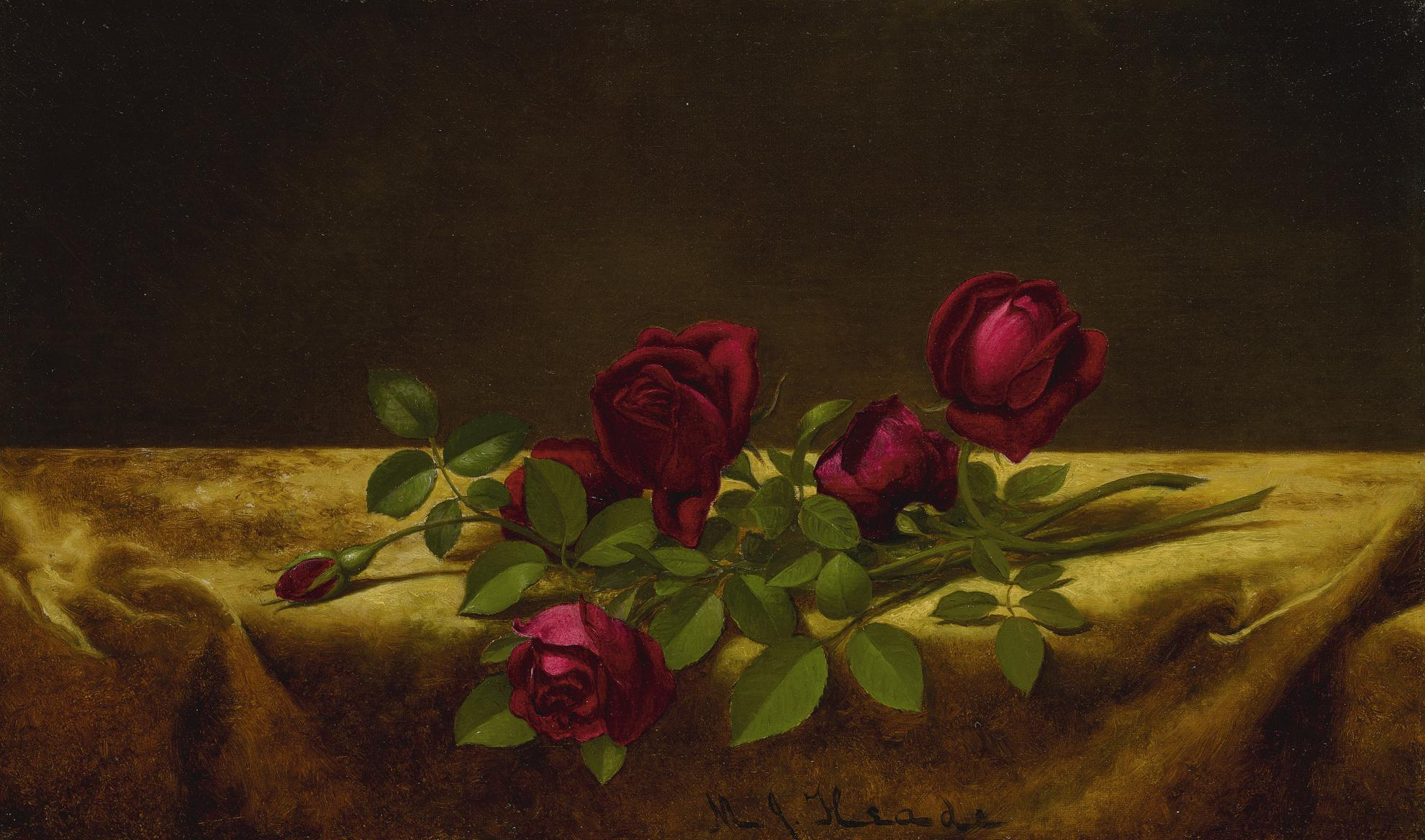 Martin Johnson Heade - Roses Lying On Gold Velvet-1900