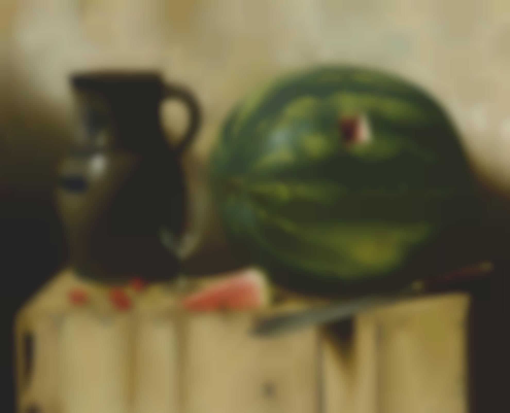 Albert Francis King - Still Life With Watermelon, Jug And Knife-