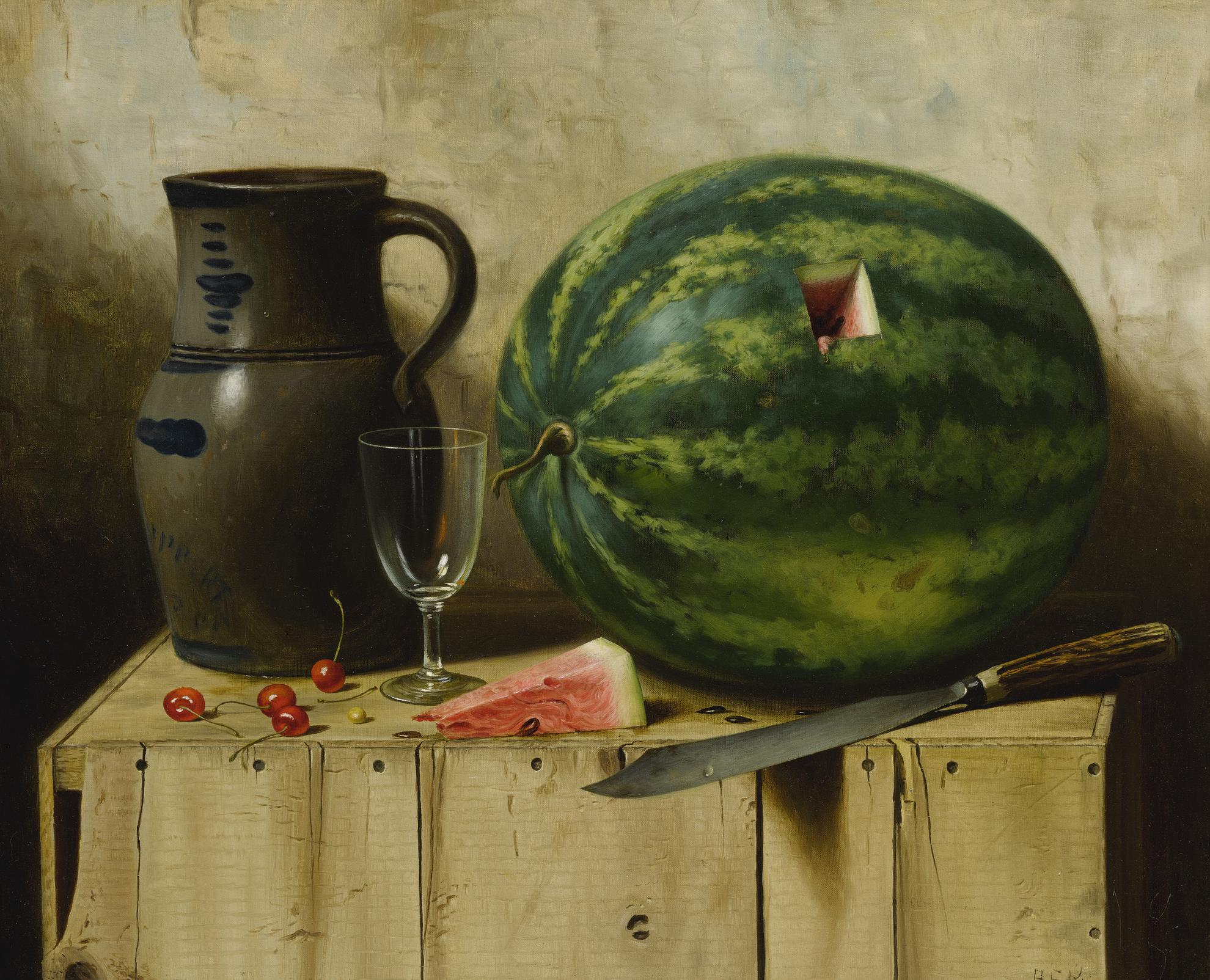 Albert Francis King - Still Life With Watermelon, Jug And Knife-