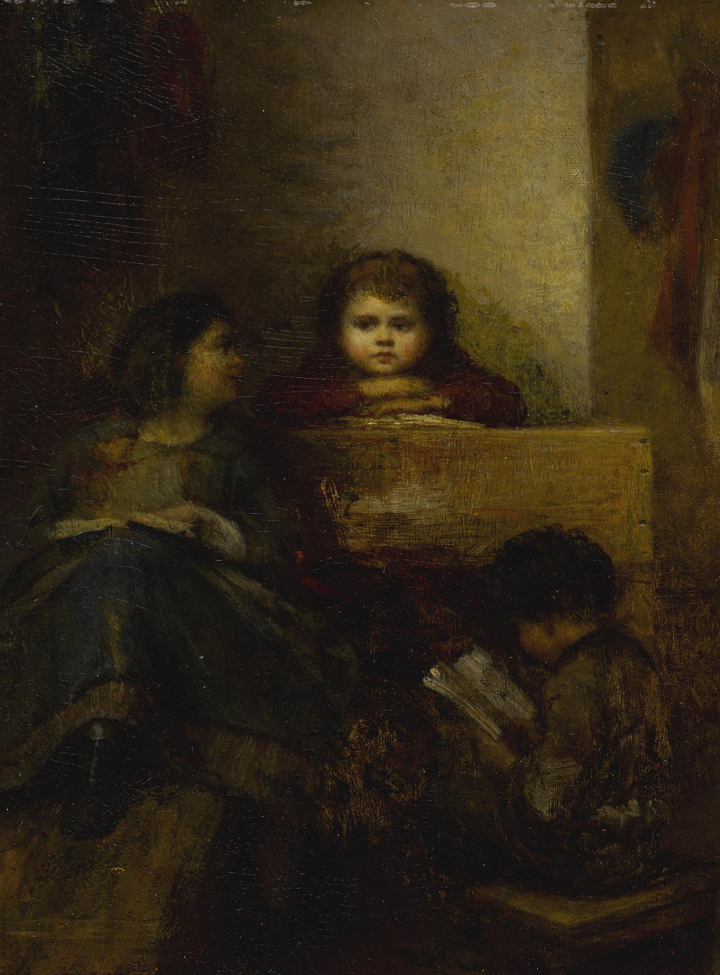 Eastman Johnson - Children Reading-