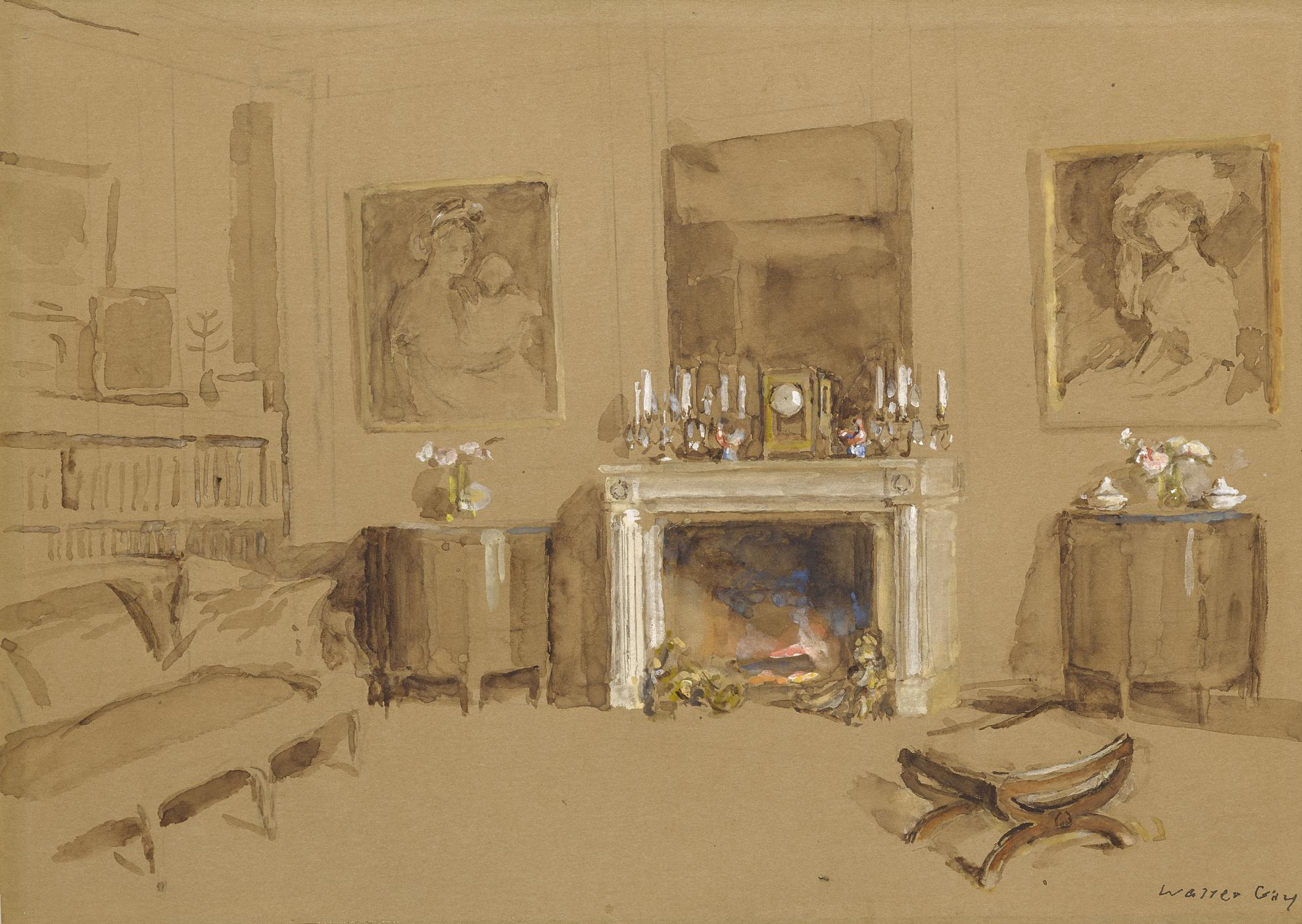 Walter Gay - Interior With Fireplace-