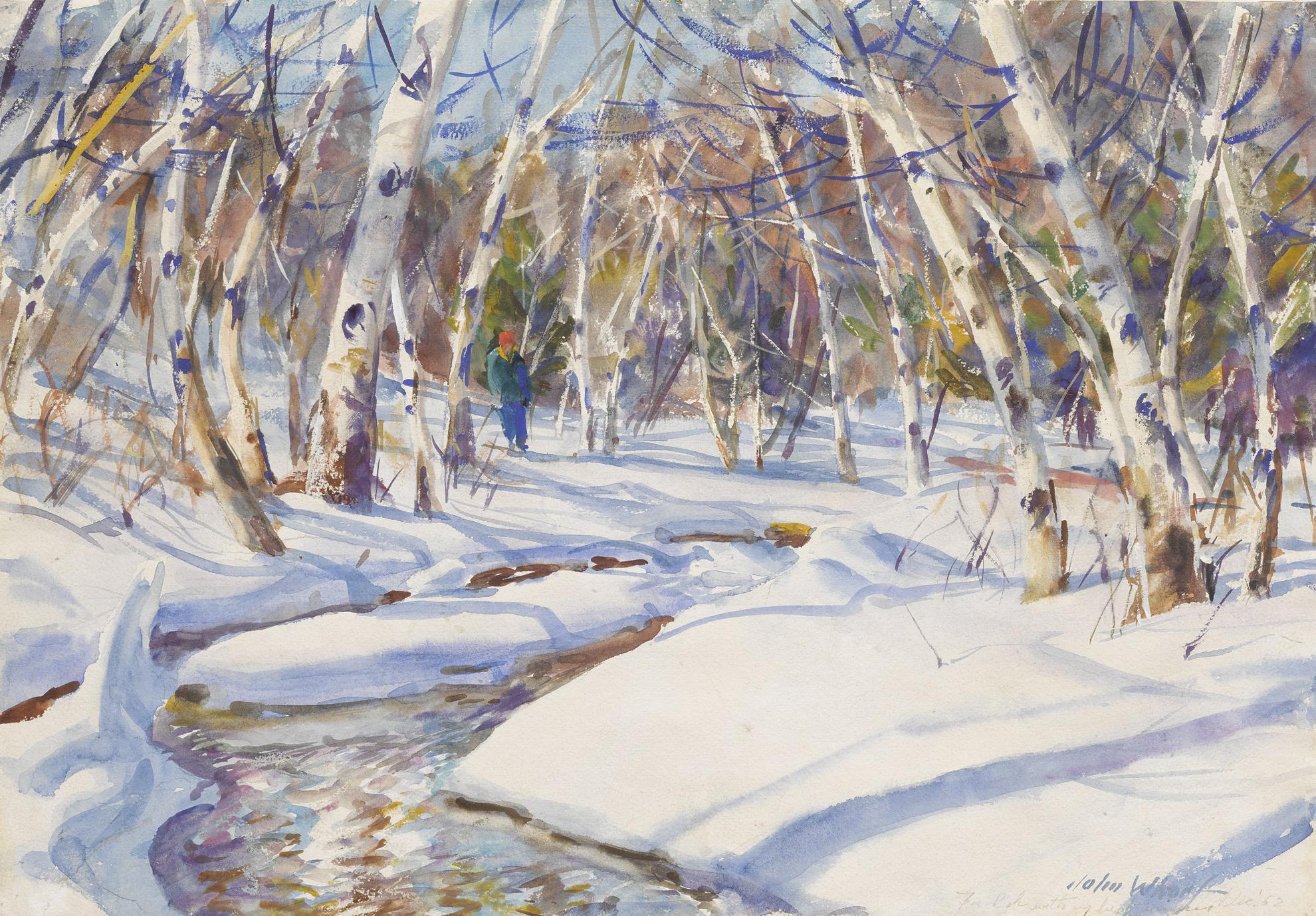 John Whorf - Birches, Winter Afternoon-1952