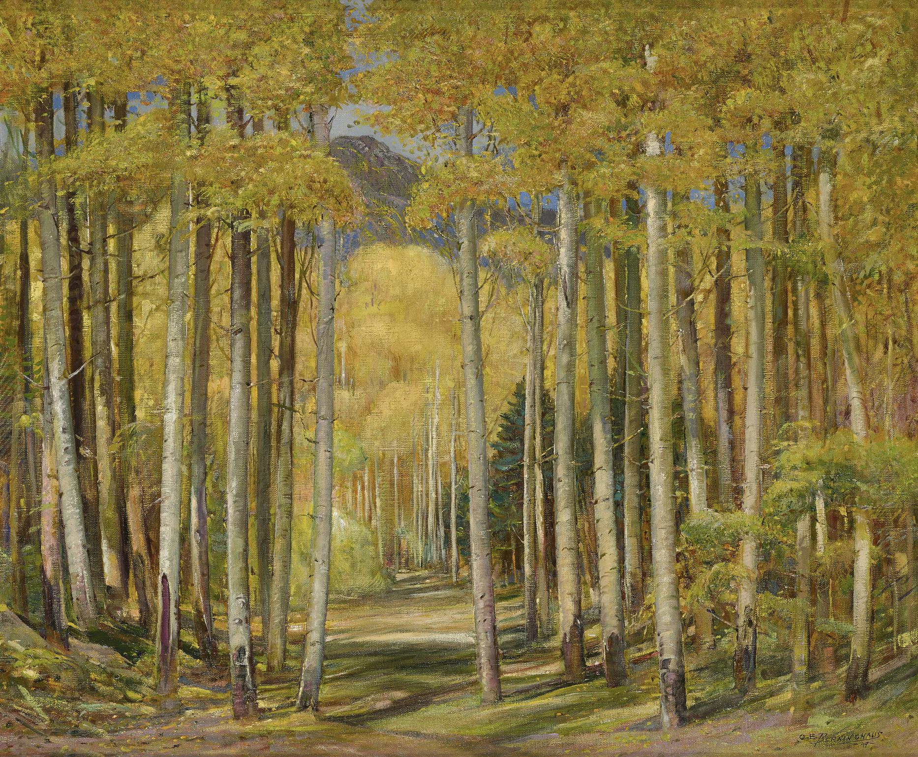 Oscar Edward Berninghaus - Autumn Aspen Forest-1949