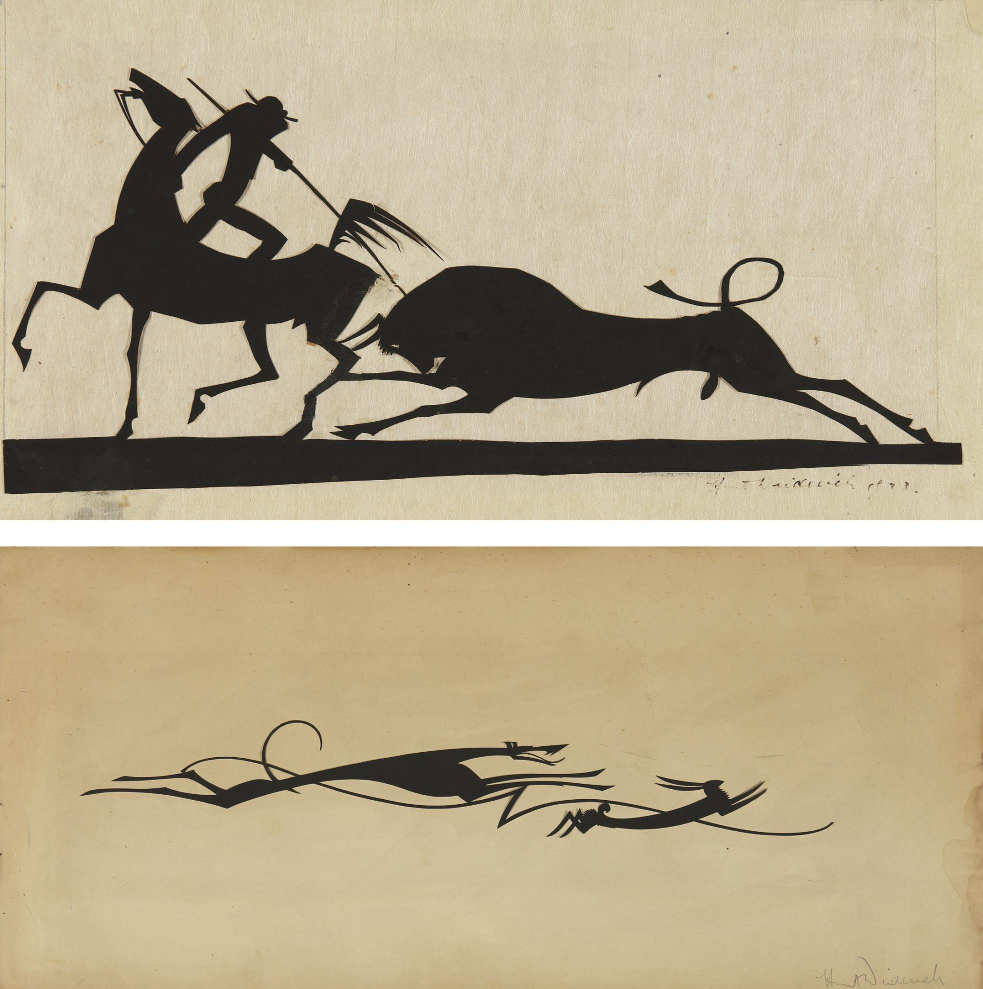 Wilhelm Hunt Diederich - Toreador And Bull And Dog And Hare: Two Works-1923