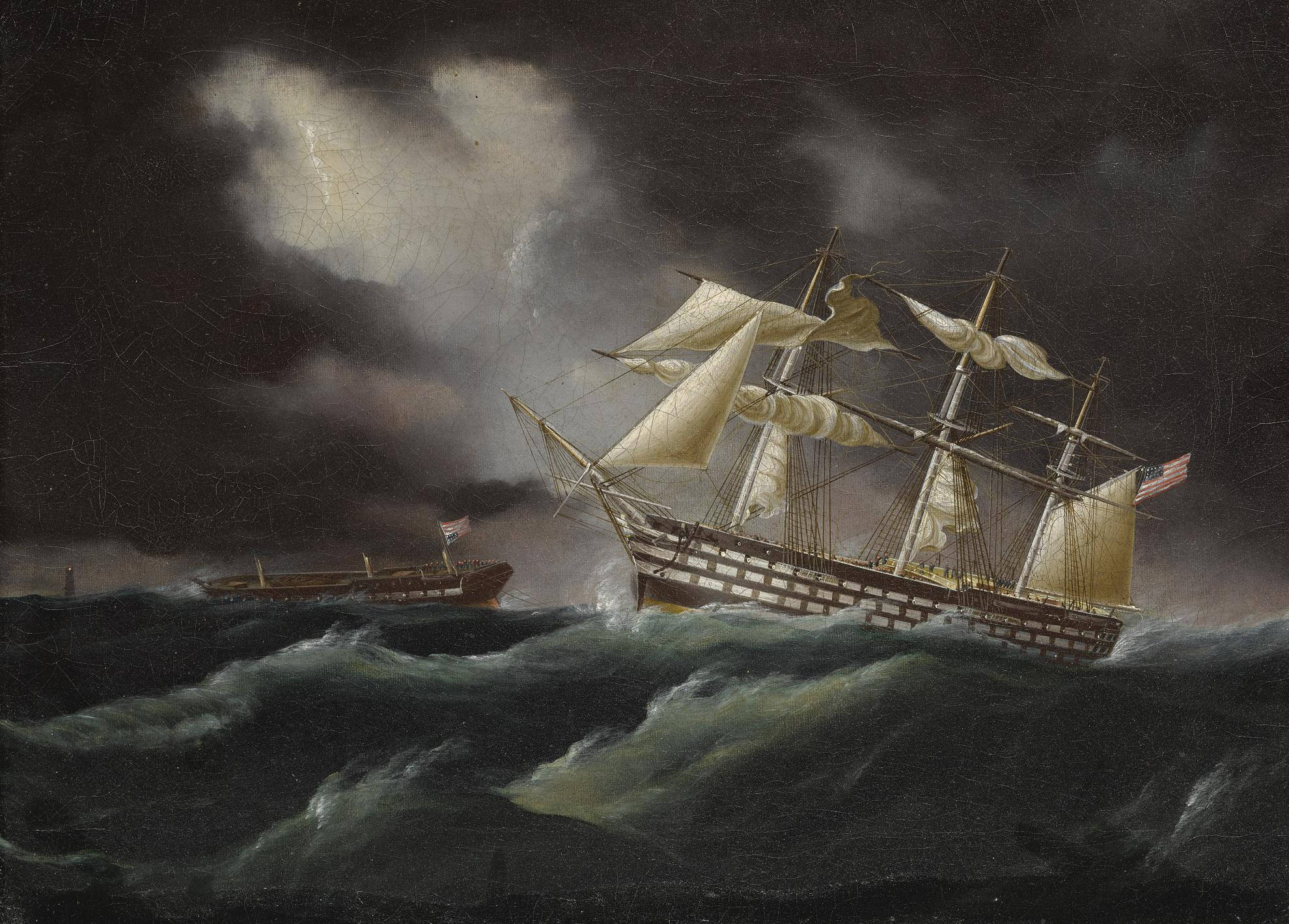James Edward Buttersworth - United States Ship Of The Line Coming To The Aid Of Frigate In Distress (Ships In A Stormy Sea)-1848